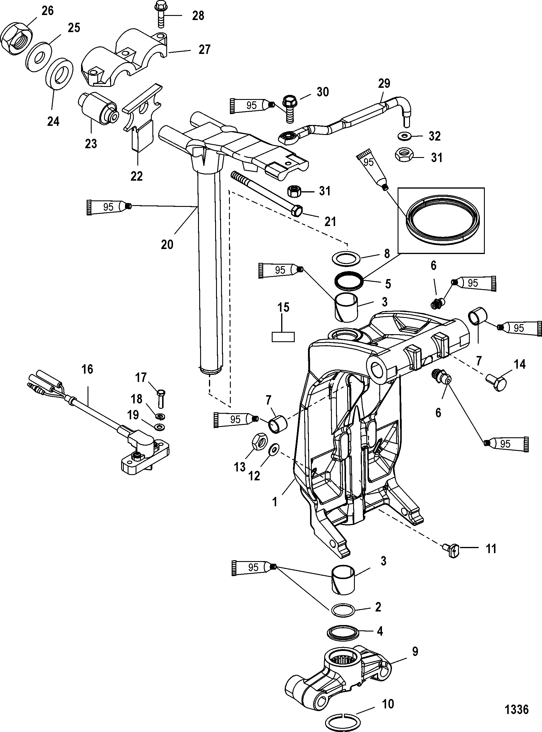 swivel bracket and steering arm for mercury 200 optimax v6 dfi