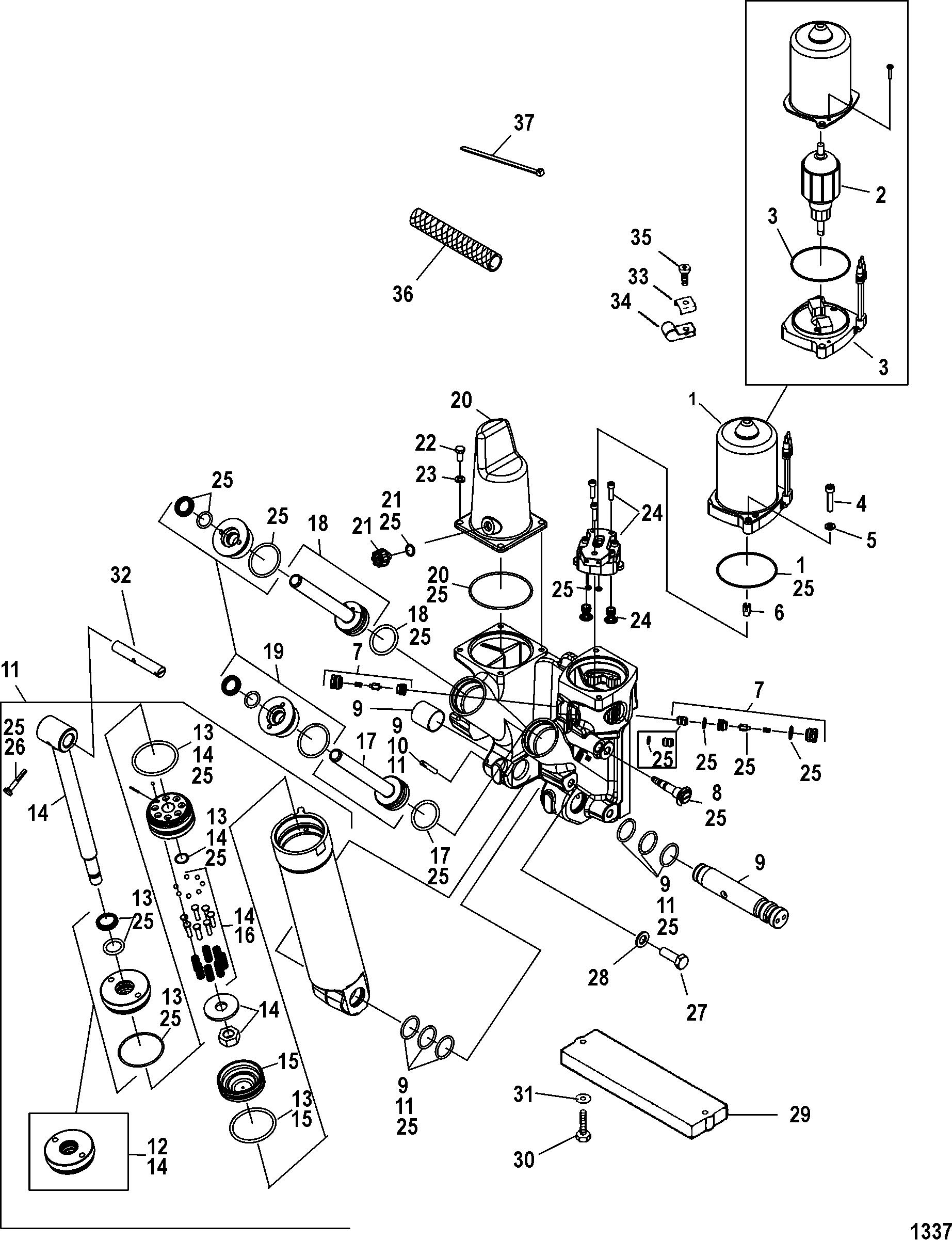 power trim components for mercury 200 optimax v6 dfi