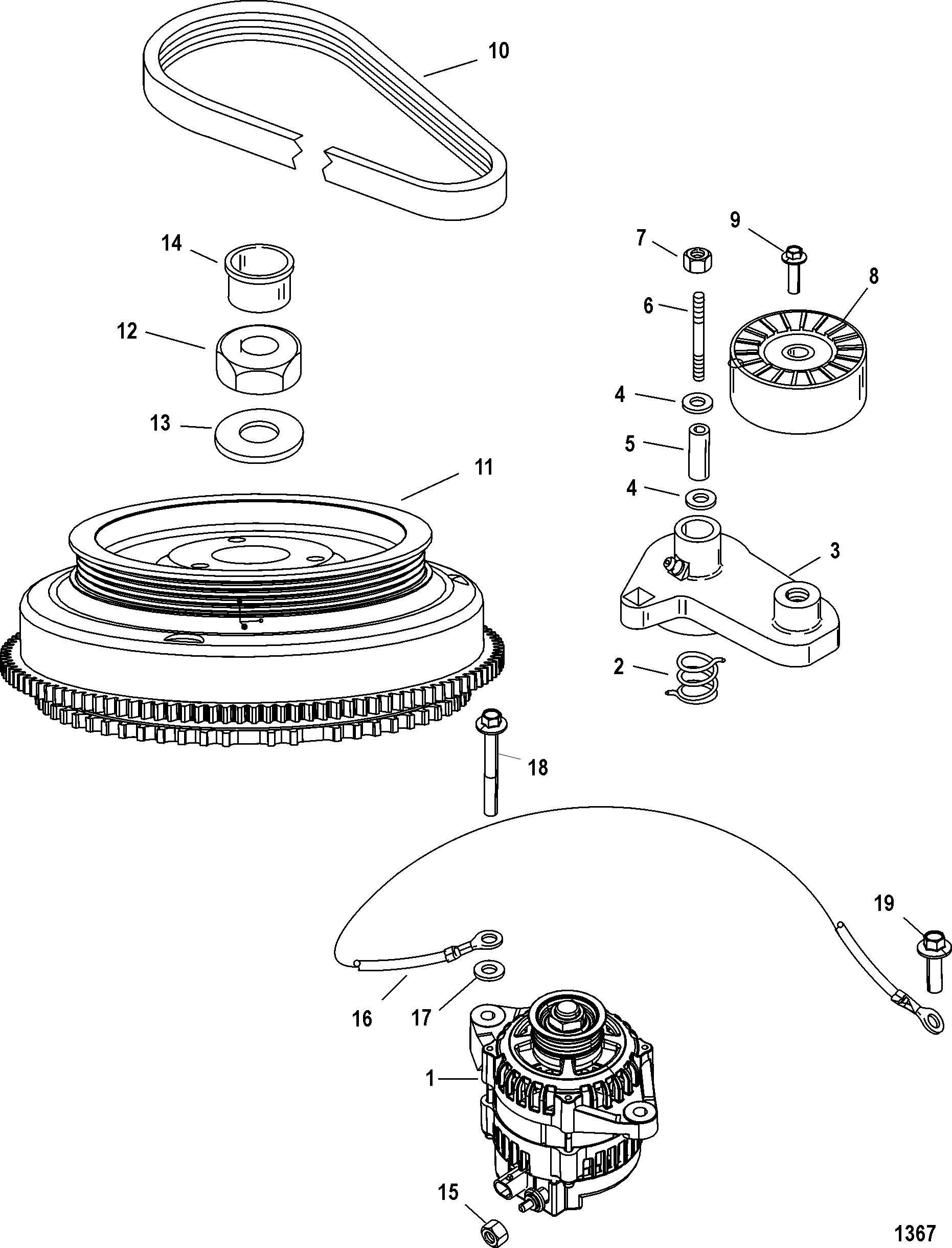 flywheel  alternator for mercury 200 optimax v6 dfi