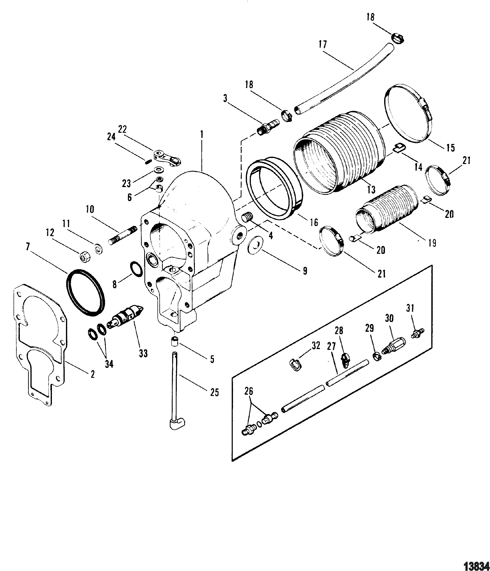 BravoService besides Mercruiser Sterndrive Parts Diagram additionally Id27 together with Mercruiser Alpha One Gen 2 Parts Diagram Fine Illustration Engine Section furthermore Parts drawing upper. on alpha one outdrive diagram