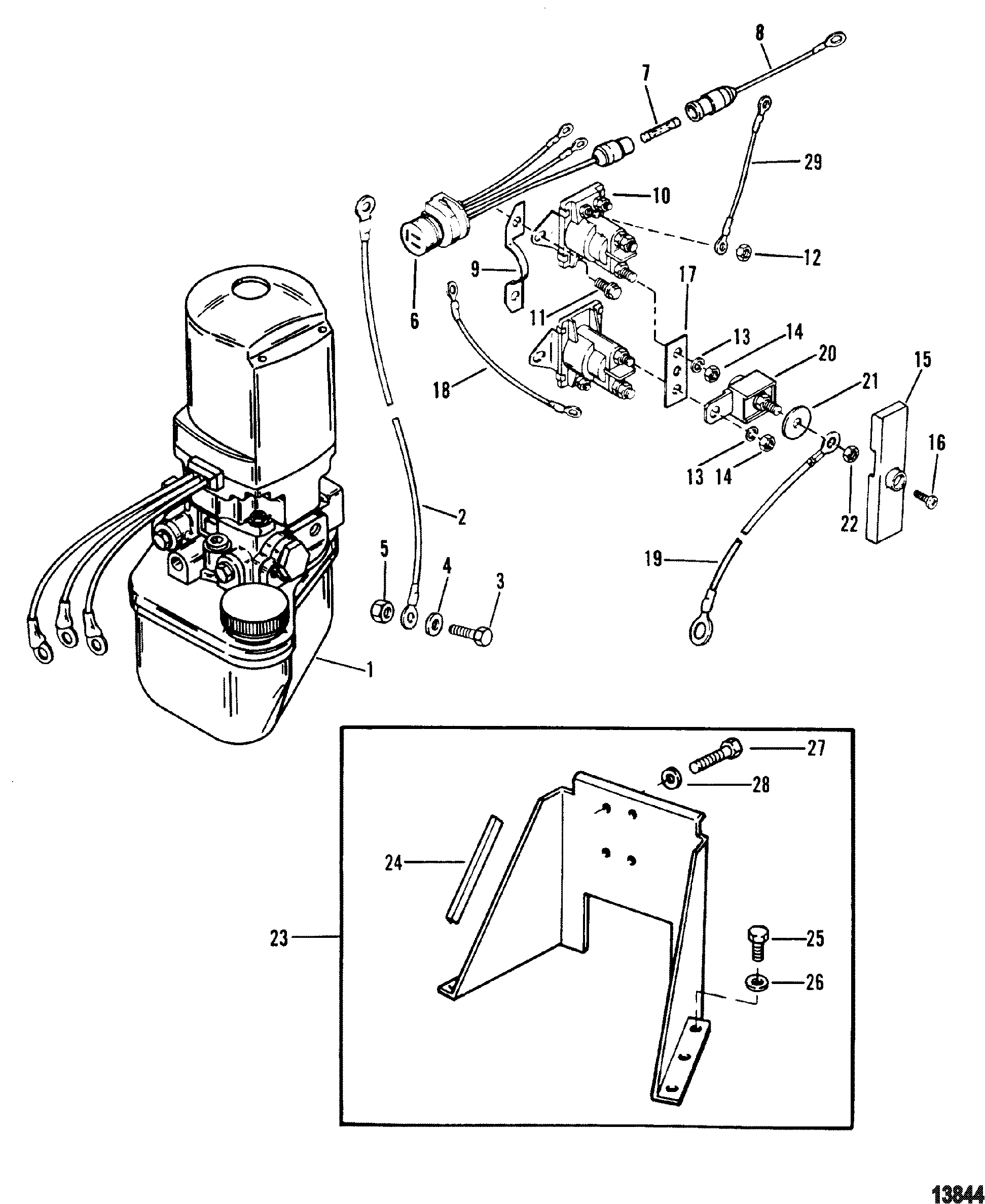 Hydraulic Pump And Bracket For Mercruiser Alpha One Gen Ii Stern Drive And Transom Assembly