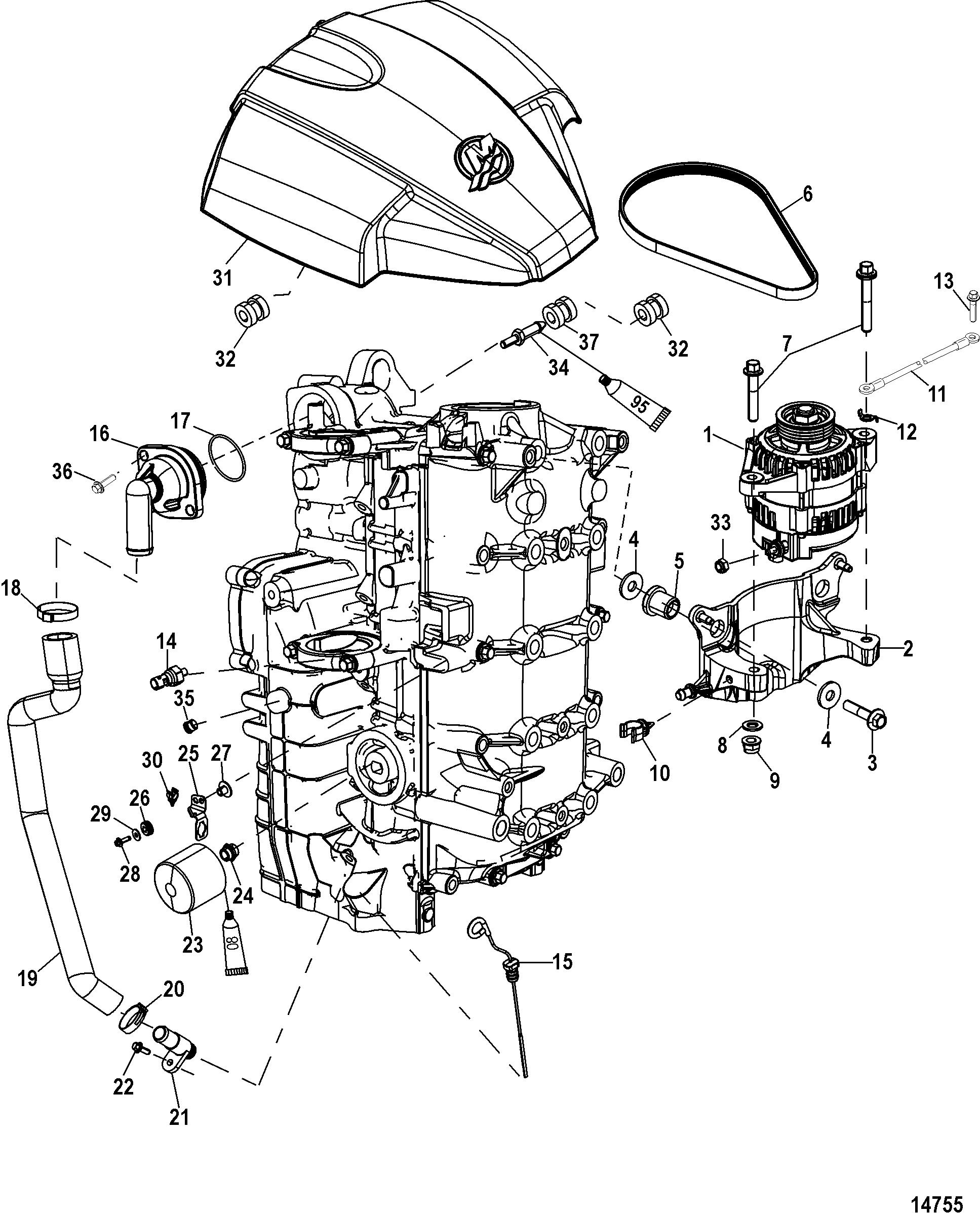 alternator  starboard cylinder block components for mariner