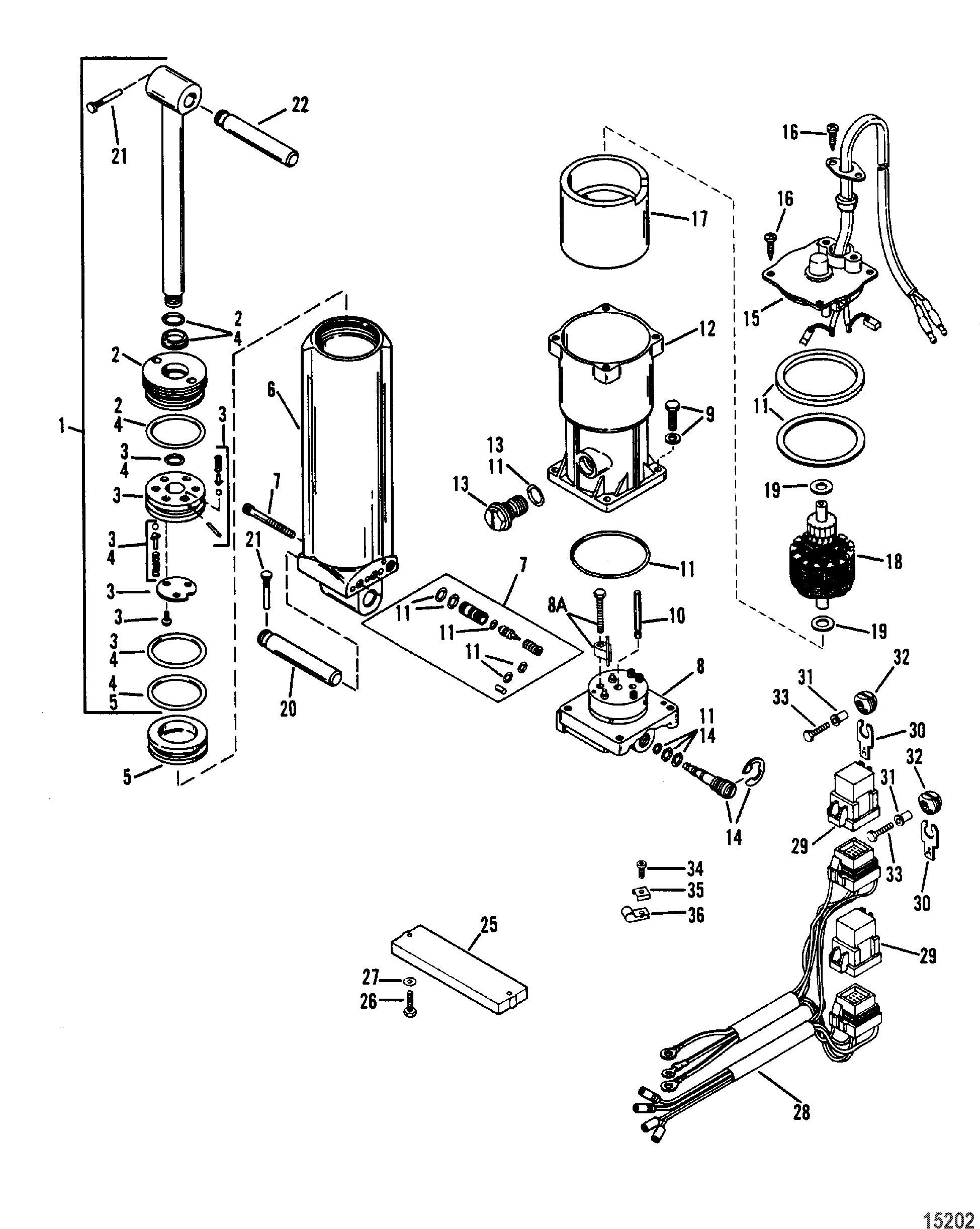 mercury 115 4 cyl auto electrical wiring diagram  power trim ponents single ram power trim for mariner mercury sea ray 100