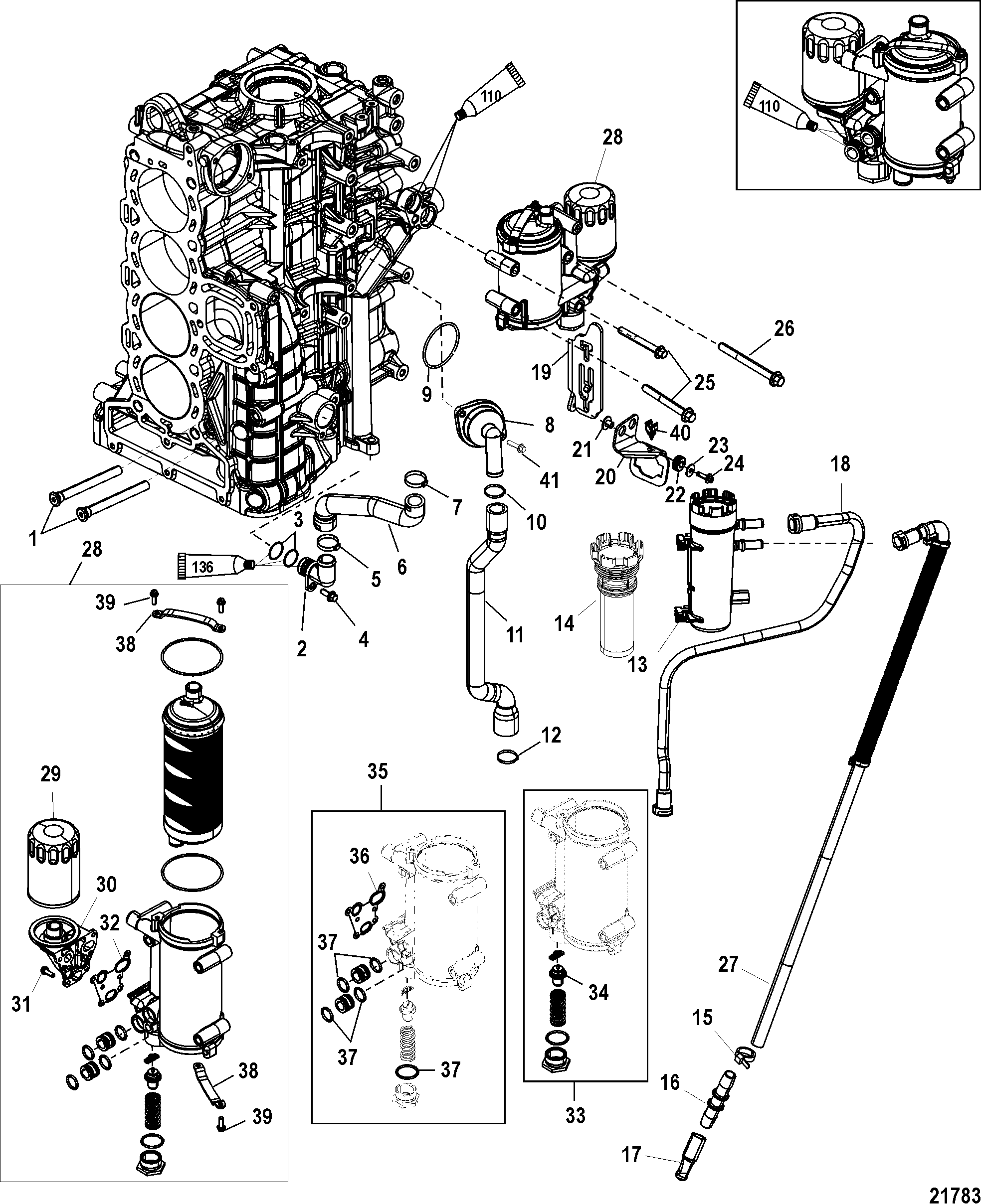 starboard cylinder block  oil cooler for mariner    mercury