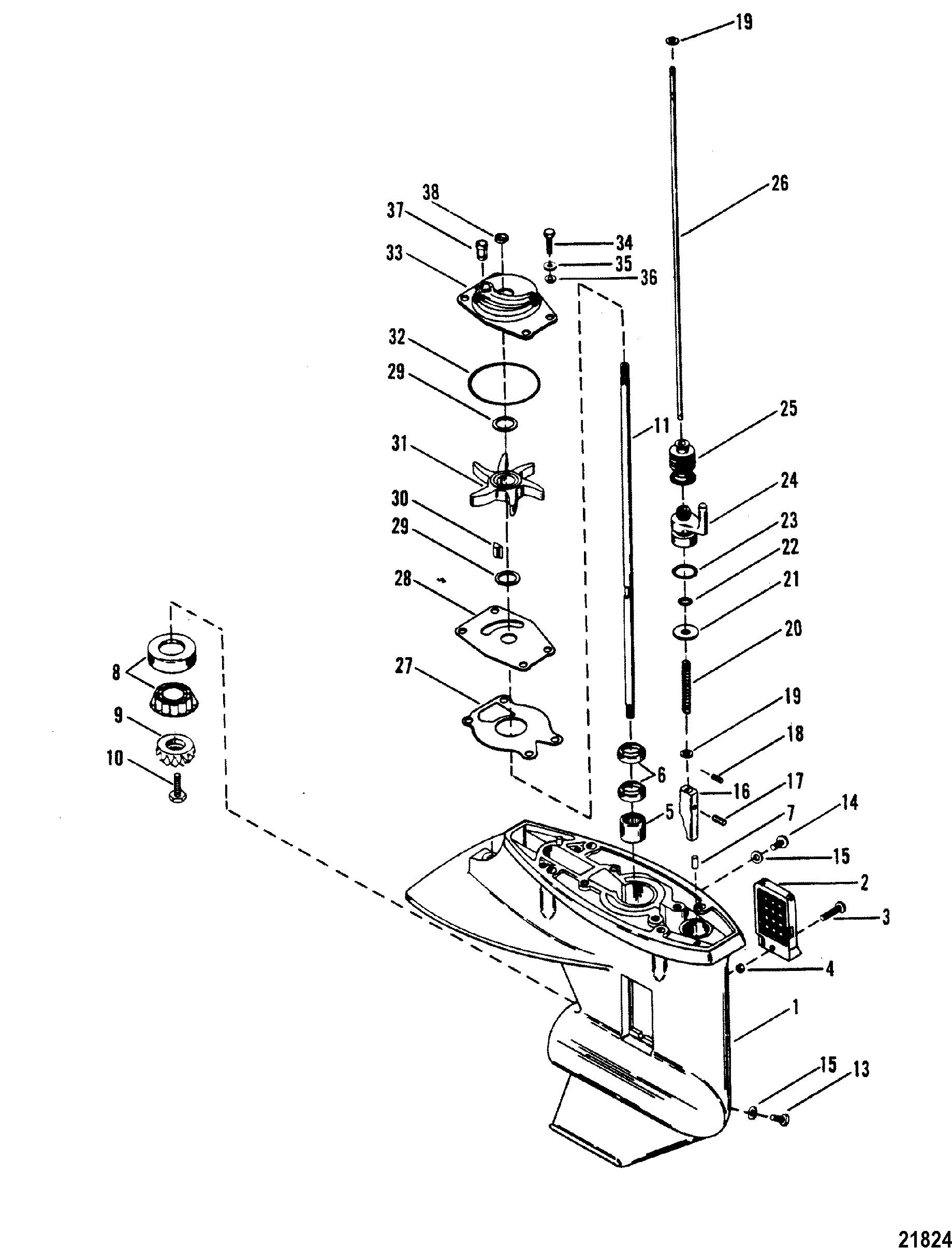 gear housing driveshaft for mariner    mercury 20 h p   25 h