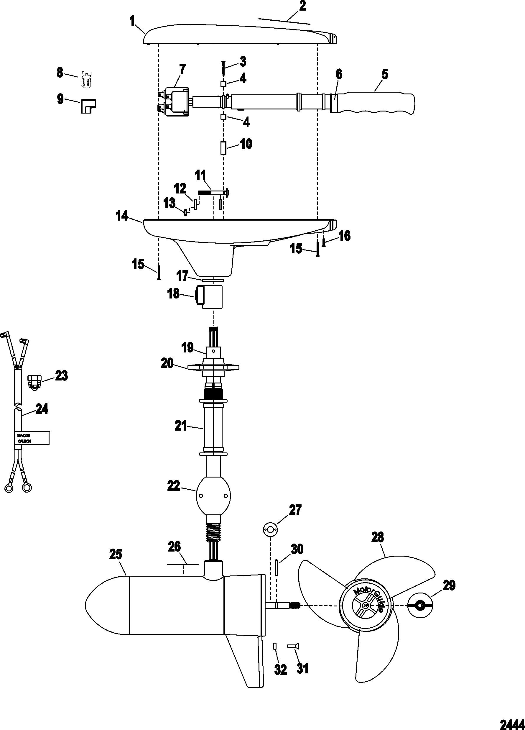 Complete Trolling Motor Model Gwb67w 24 Volt For