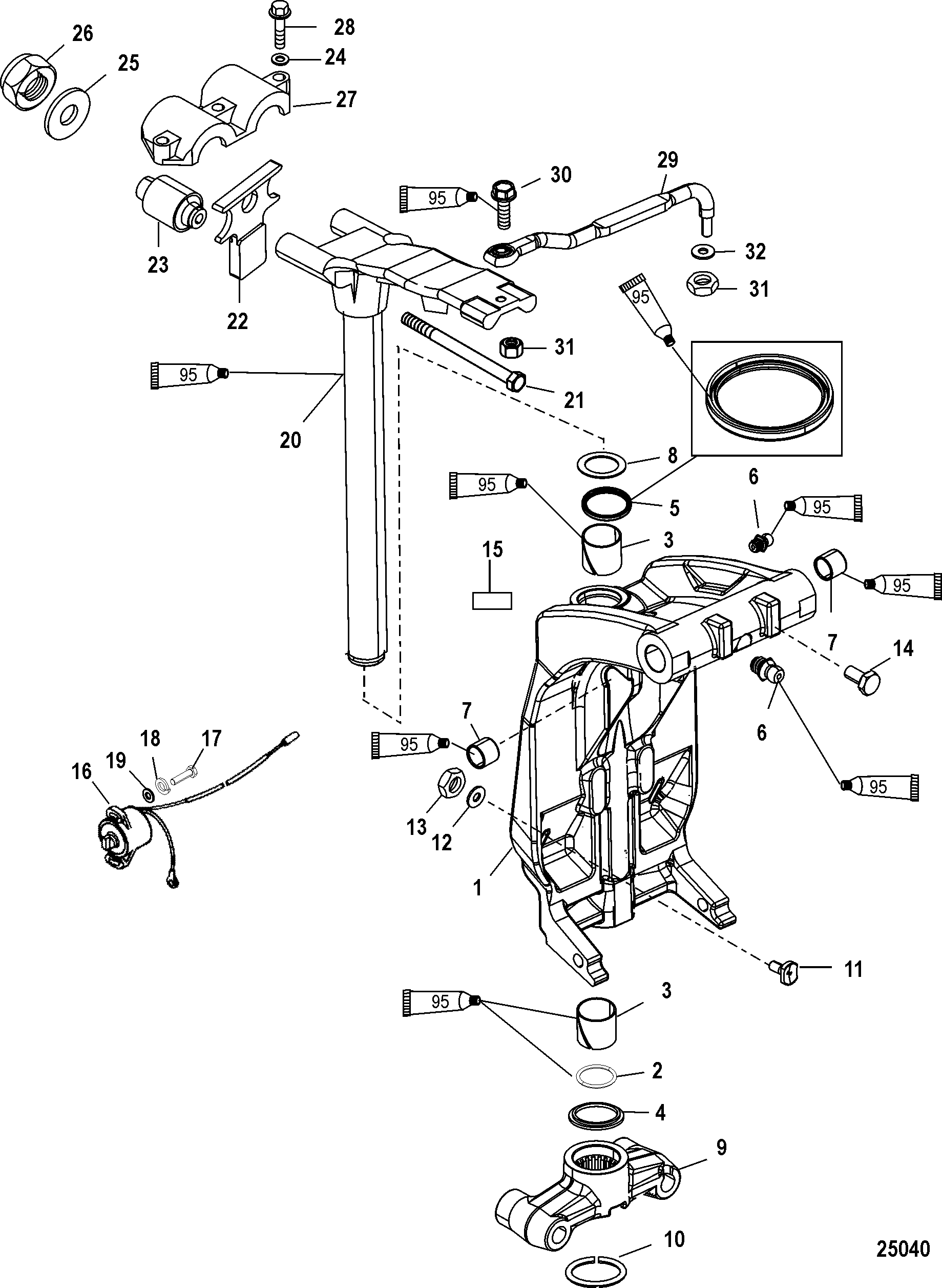 Swivel Bracket And Steering Arm For Mercury 250 Pro Xs 3 0l