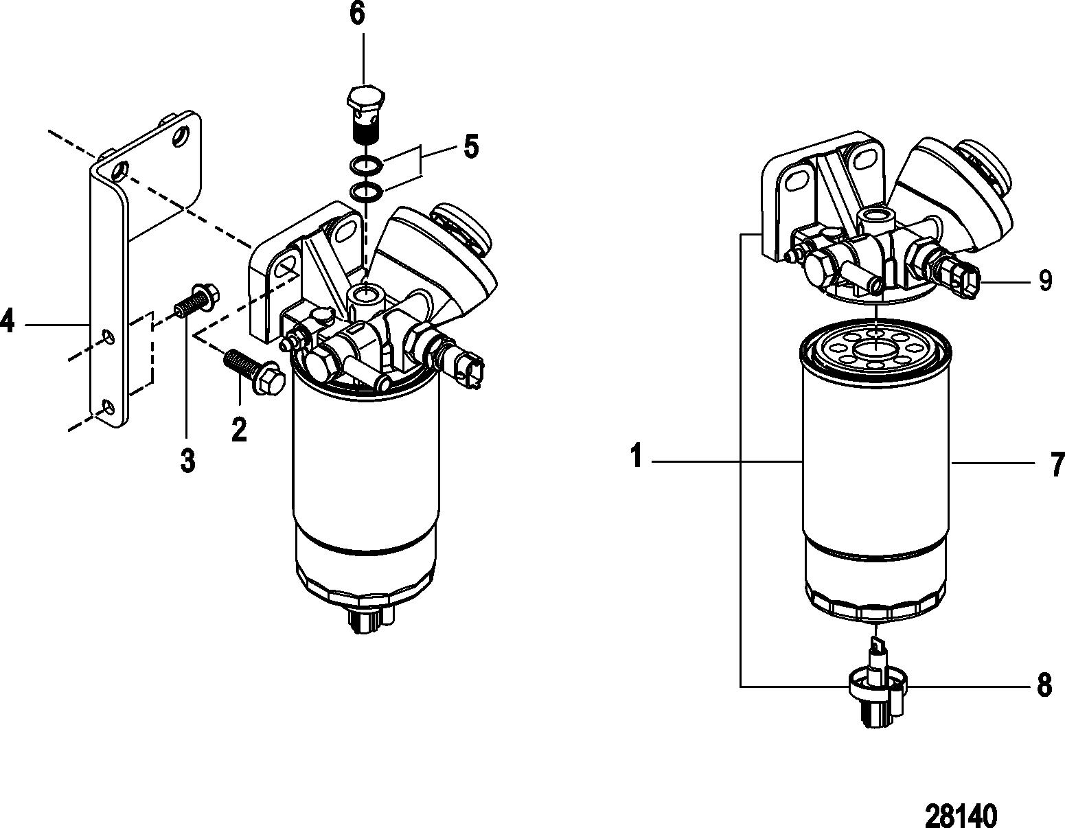 fuel filter assembly for mercruiser    mie cummins  mercruiser diesel qsd