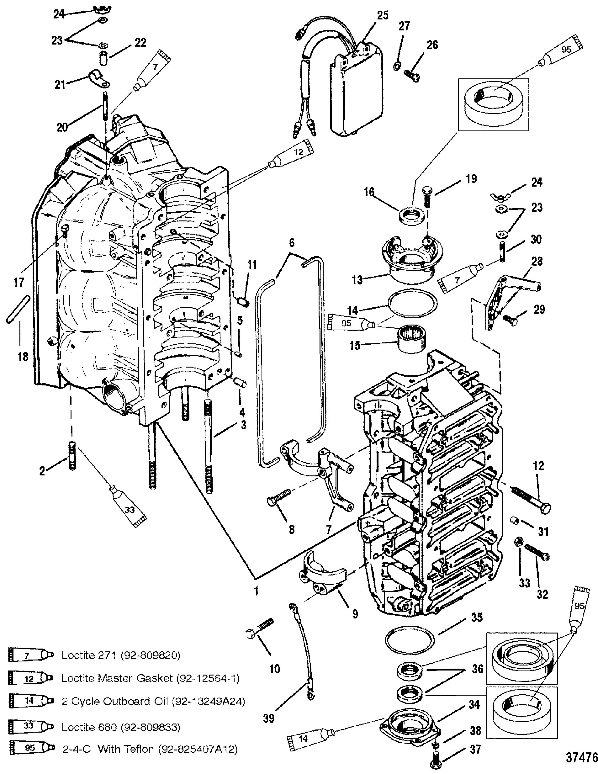 cylinder block and end caps for mariner / mercury 150/175 ... 1998 mercury villager fuse diagram