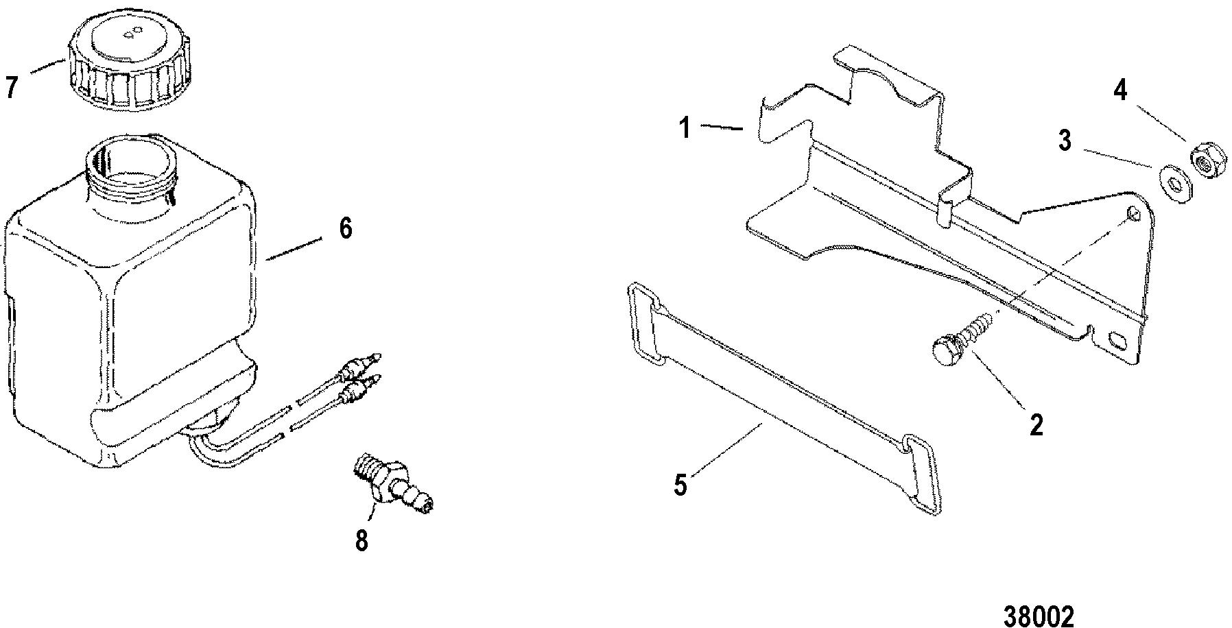 oil reservoir bottle and bracket for mercruiser 4 3 lx  lxh