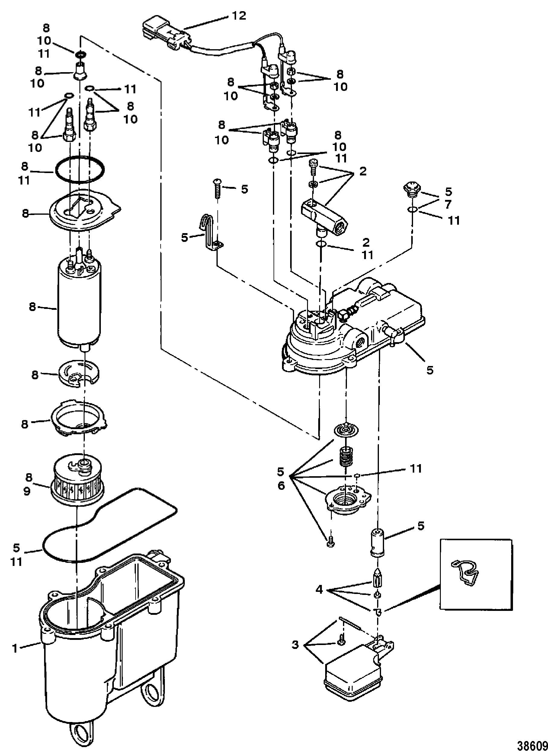 vapor separator tank for mercruiser 454  502 mpi mag bravo