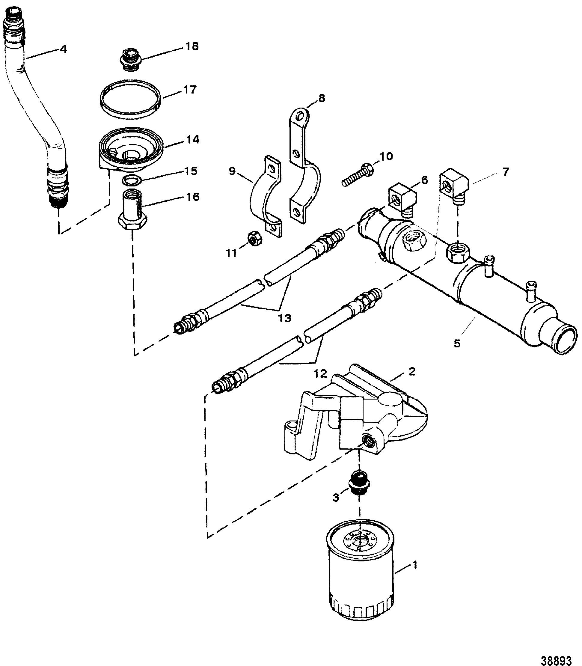 Oil Filter And Adaptor 7 4l Bravo S  N 0f114759  U0026 Below For Mercruiser 7 4l 454 Mag Bravo Gen V