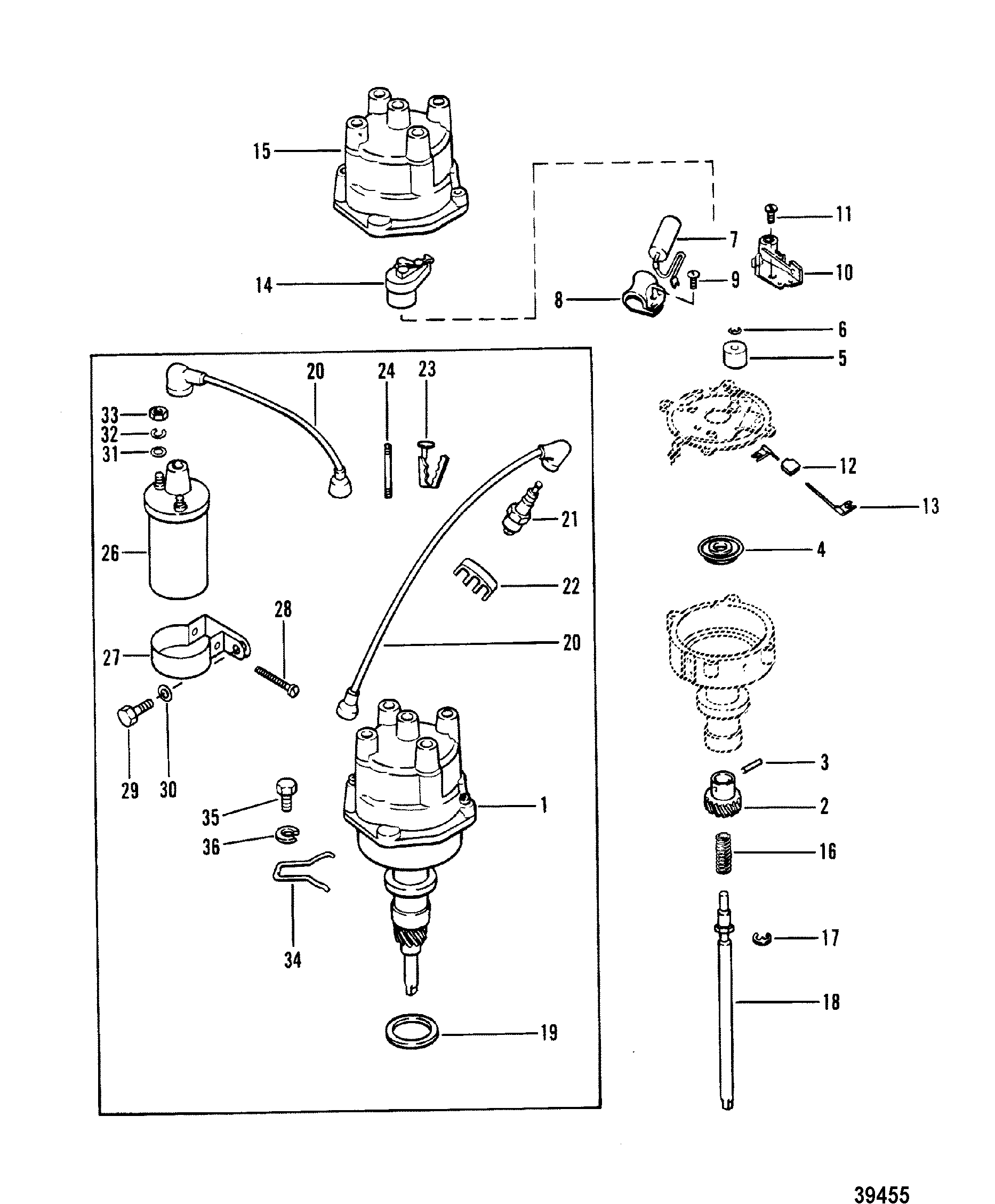 8 2 mercruiser engine diagram 165 hp mercruiser engine diagram distributor and coil for mercruiser 165 hp - 3.7l/170 hp ...
