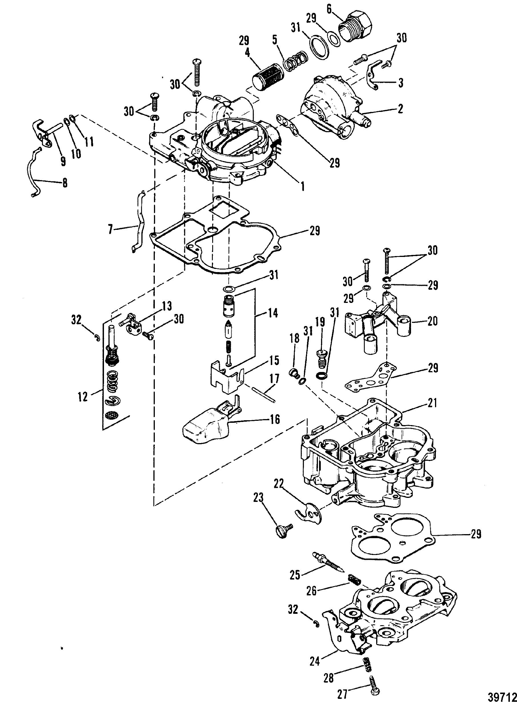 carburetor mercarb 2 barrel for mercruiser 4 3l 4 3lx alpha one engine 262 cid