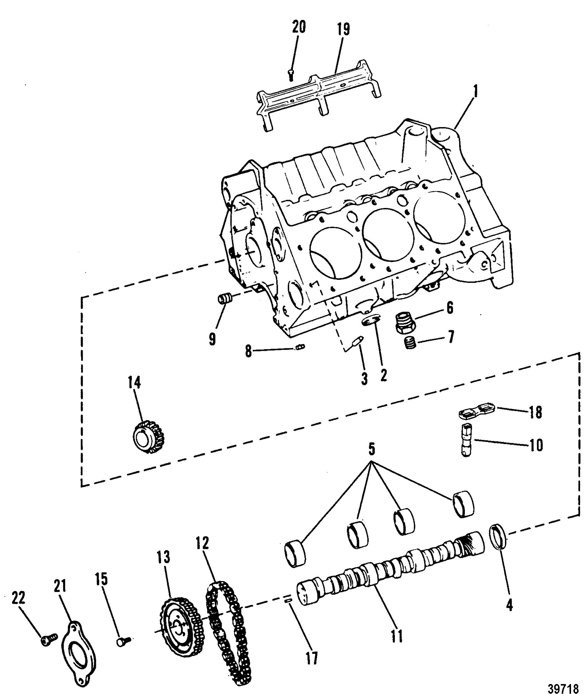 cylinder block and camshaft for mercruiser 4 3l 4 3lx alpha one engine 262 cid