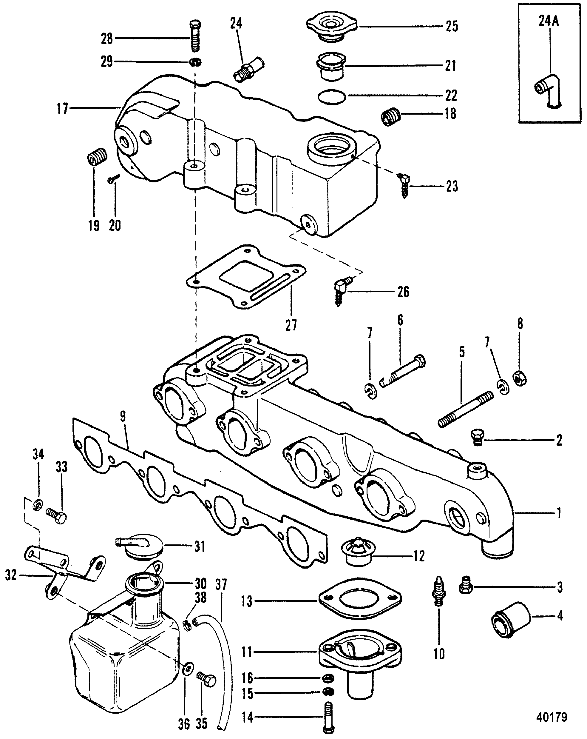 exhaust manifold and exhaust for mercruiser 470 engine
