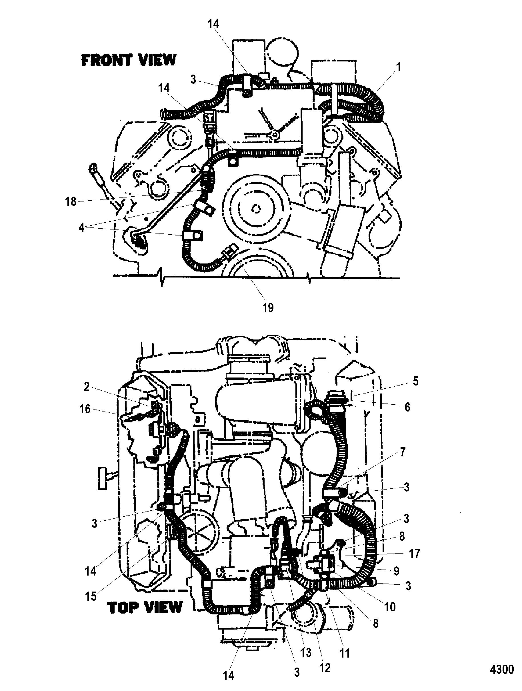 engine wiring harness for mercruiser cummins mercruiser diesel 7 3l d tronic bravo