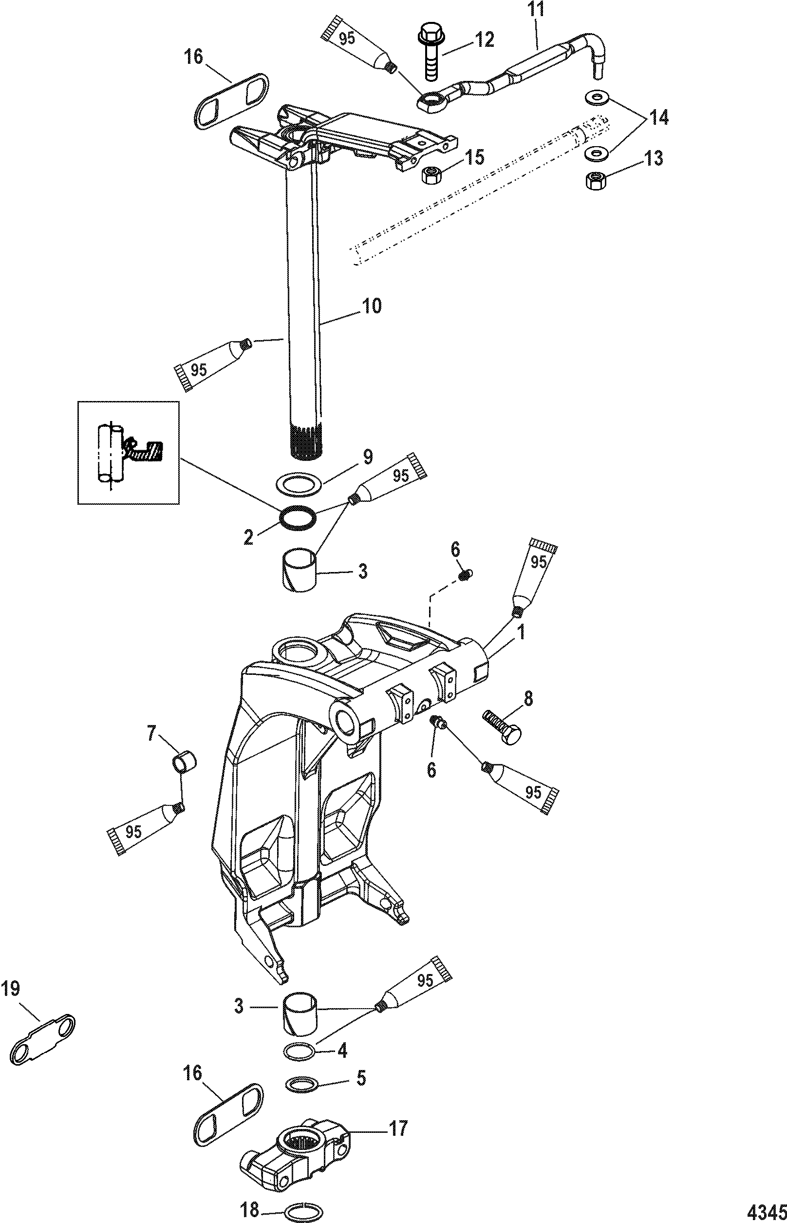 swivel bracket and steering arm for mariner    mercury 115
