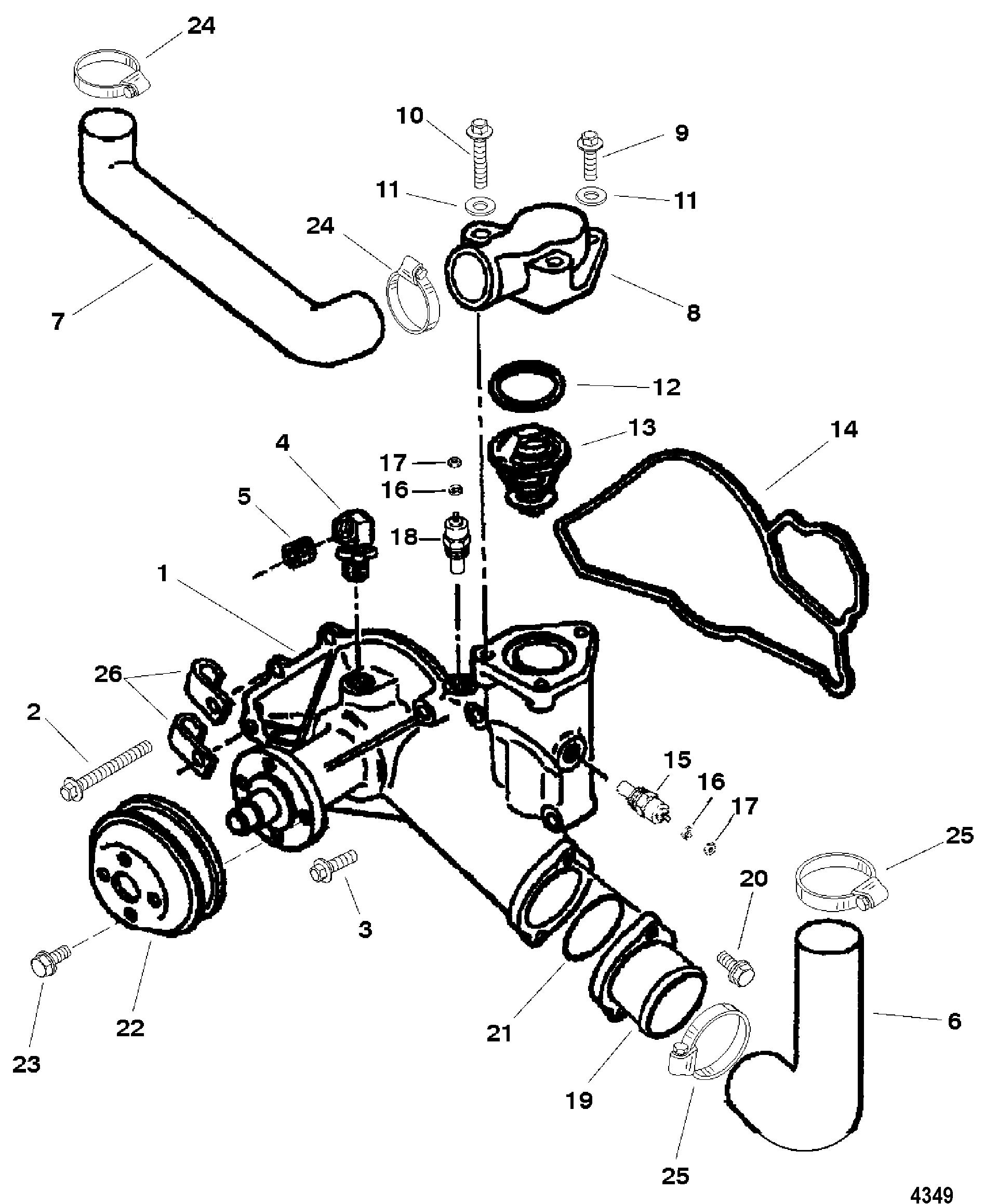 water pump for mercruiser cummins  mercruiser diesel 7 3l d