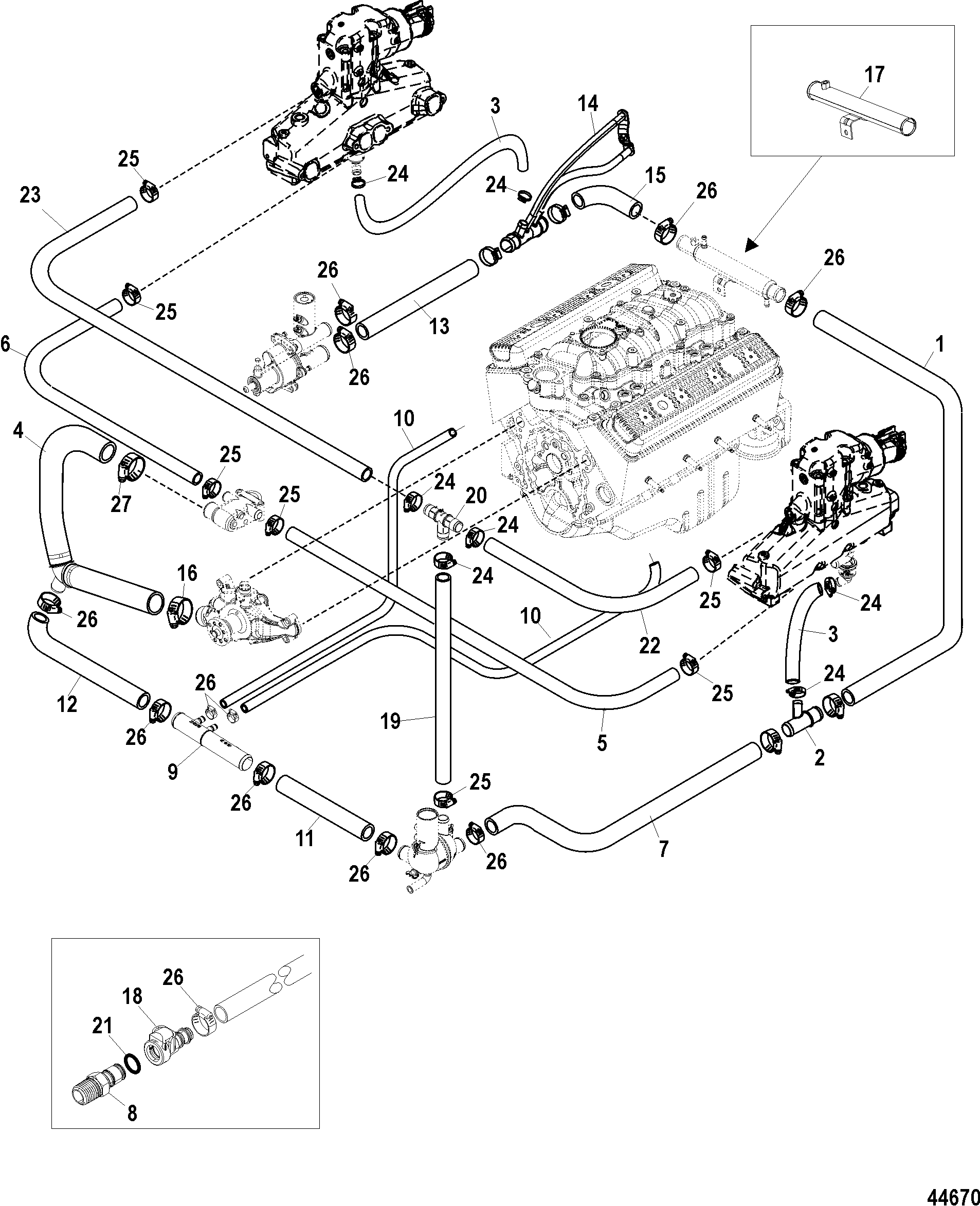 Show product further Exhaust System Basics likewise Mercruiser Trim Wiring further 593482 5 7 Merc Manifold To Riser Closed Cooling System Gasket Question likewise Show product. on mercruiser exhaust system diagram