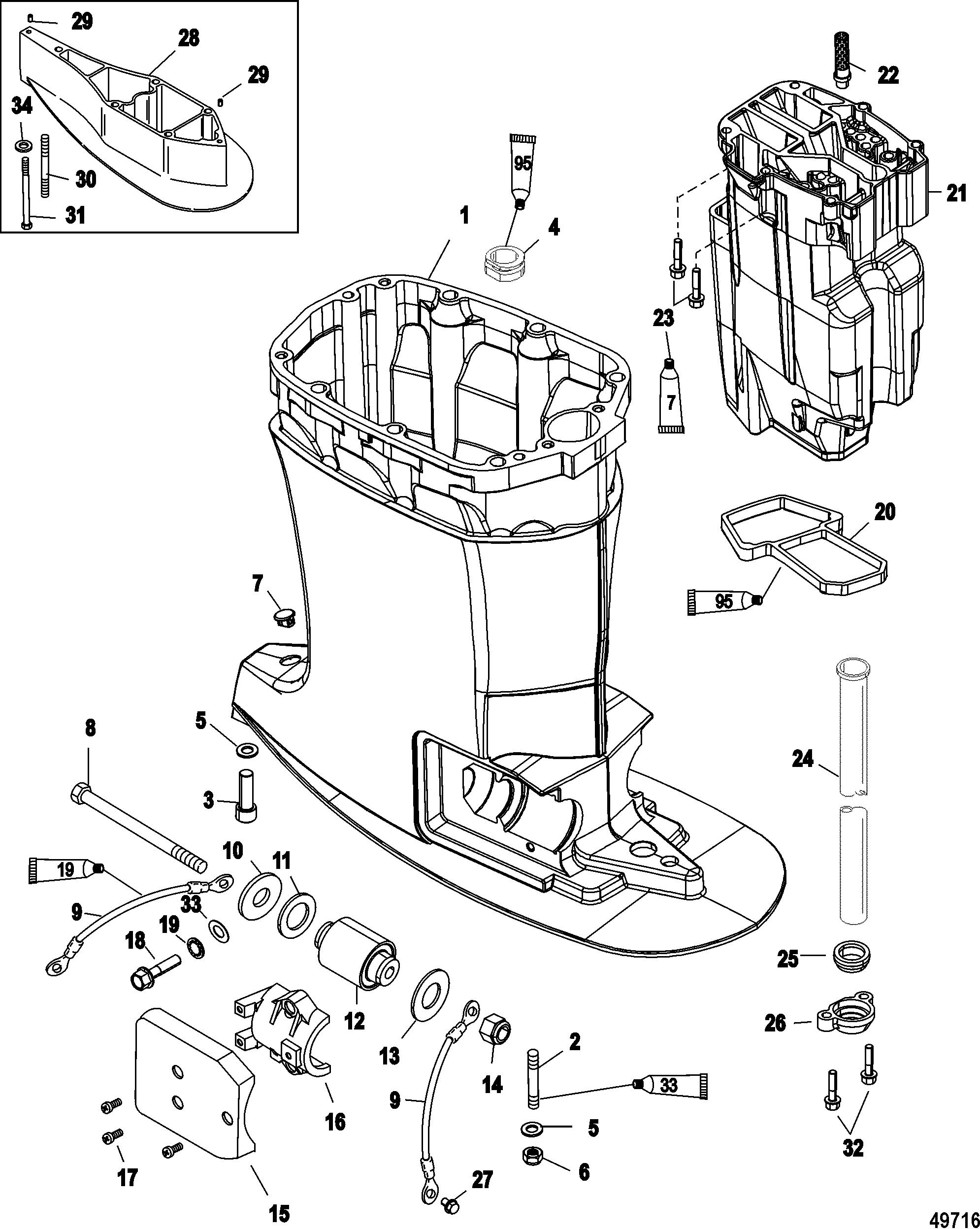 driveshaft housing and exhaust for mercury 200 optimax v6 dfi