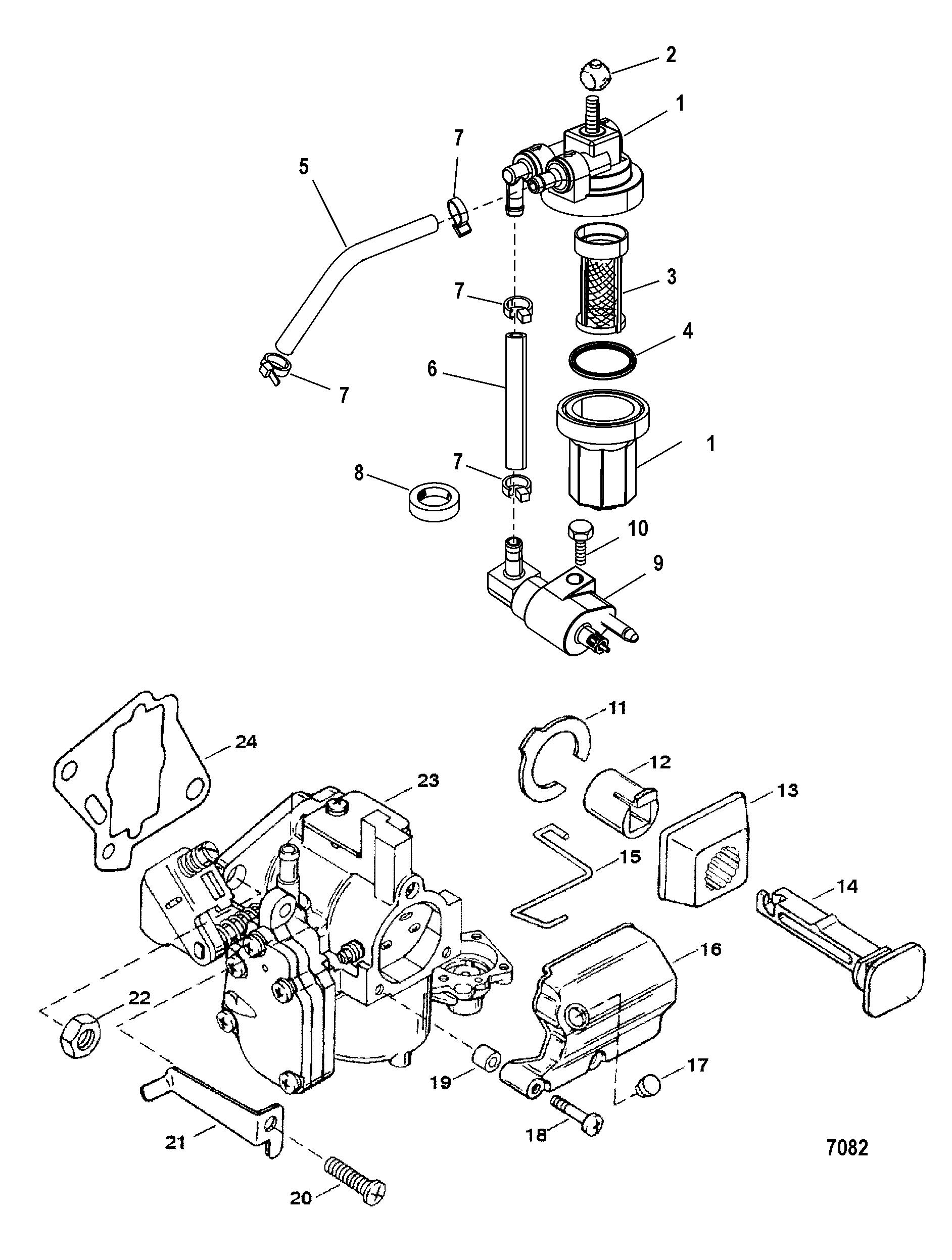 fuel system components commercial engines for mariner mercury 20 25 jet 20 seapro marathon