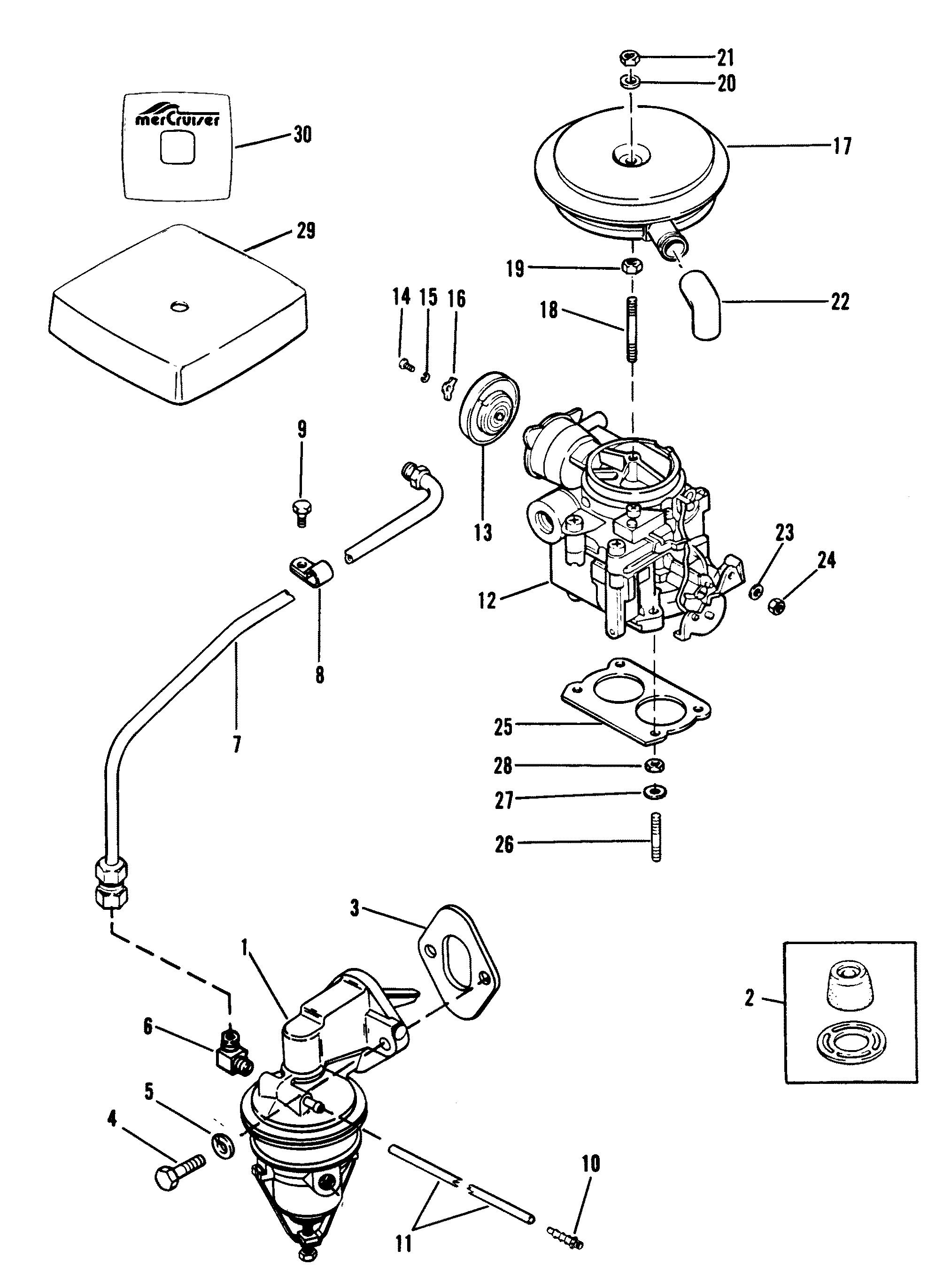 fuel pump and carburetor new design for mercruiser 120 h p