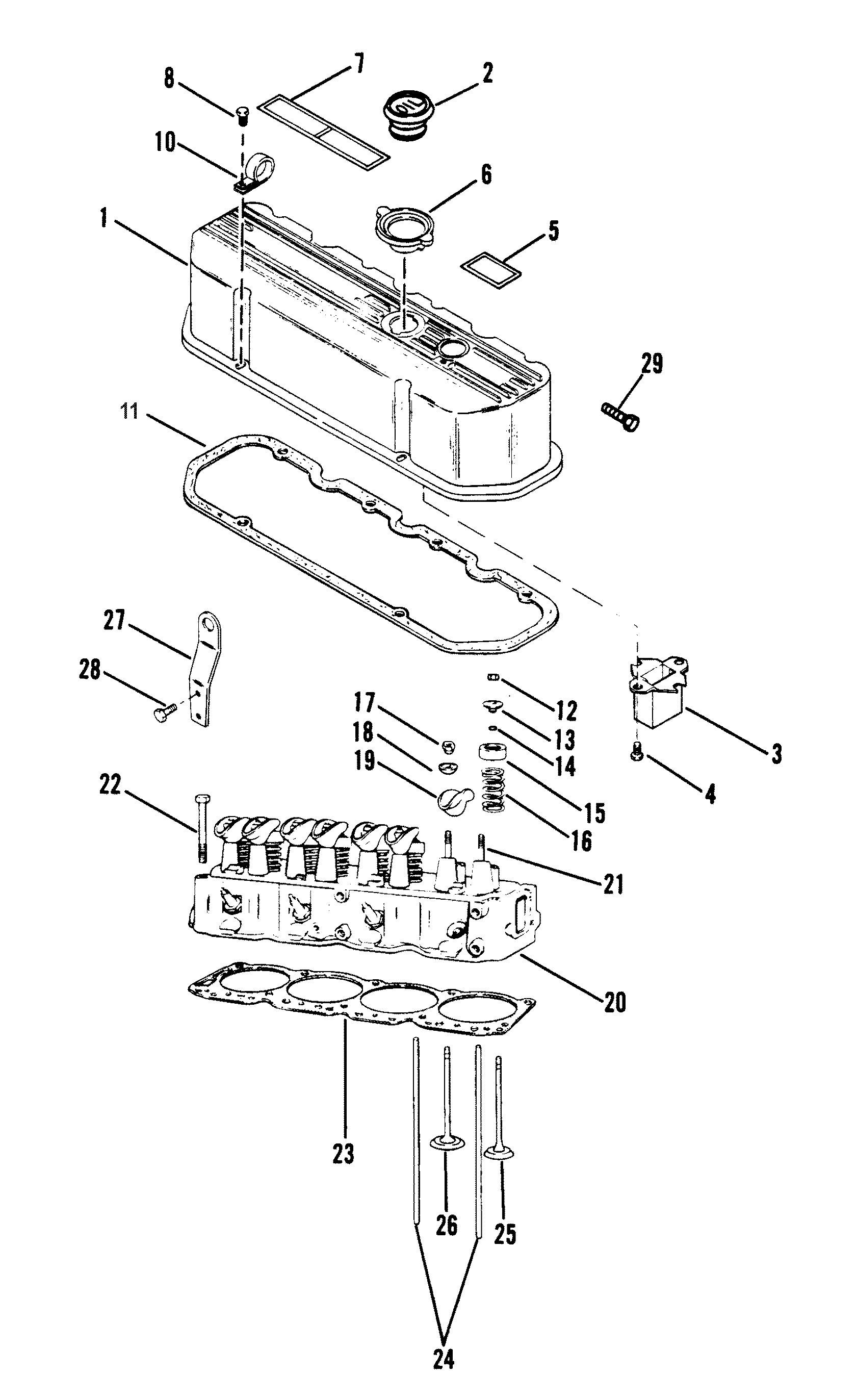 cylinder head and rocker cover 140 181 cid for mercruiser 120 h p   2 5l140 h p   3 0l r  mr  alpha