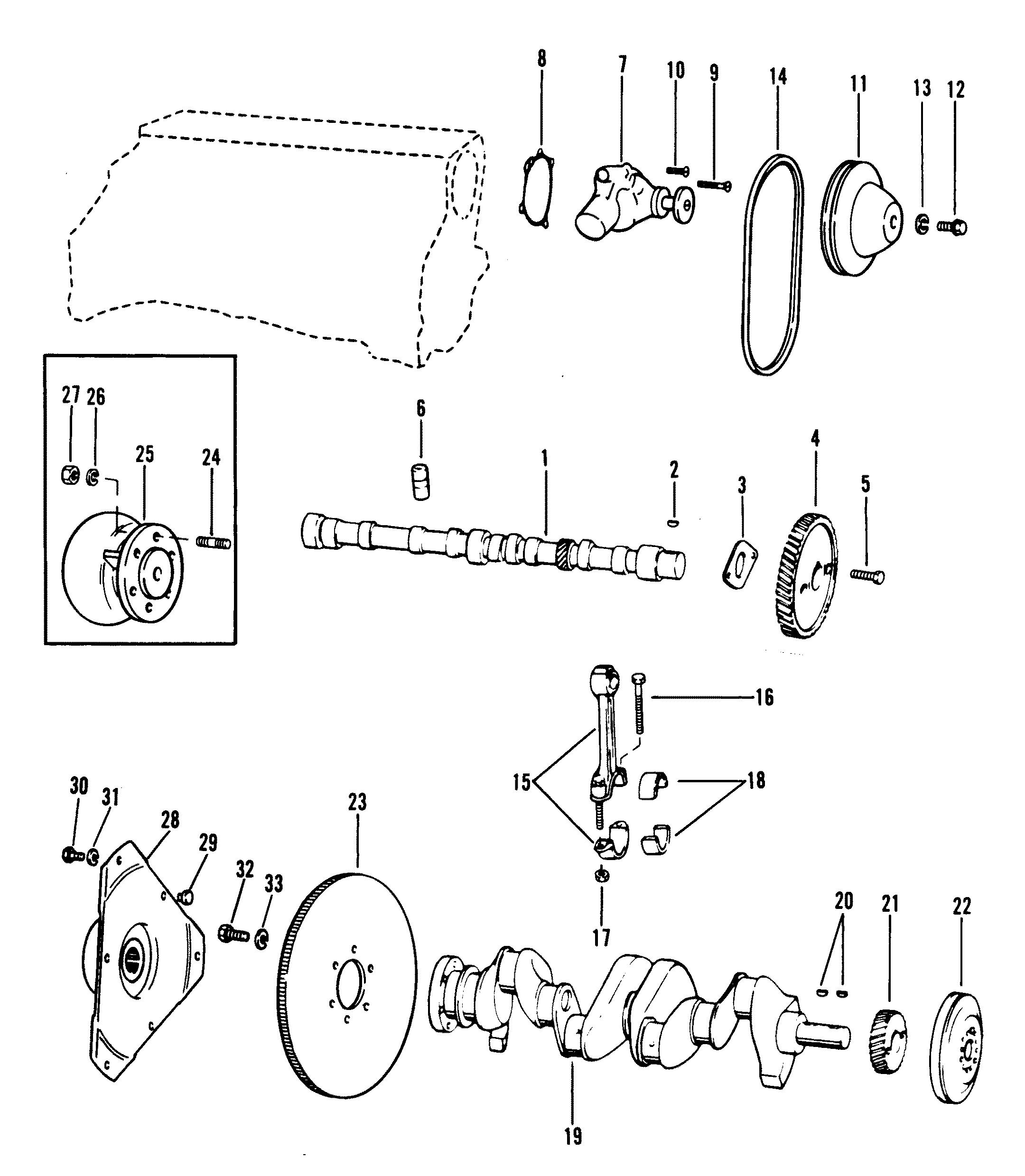 crankshaft  camshaft  water pump 140 181 cid for