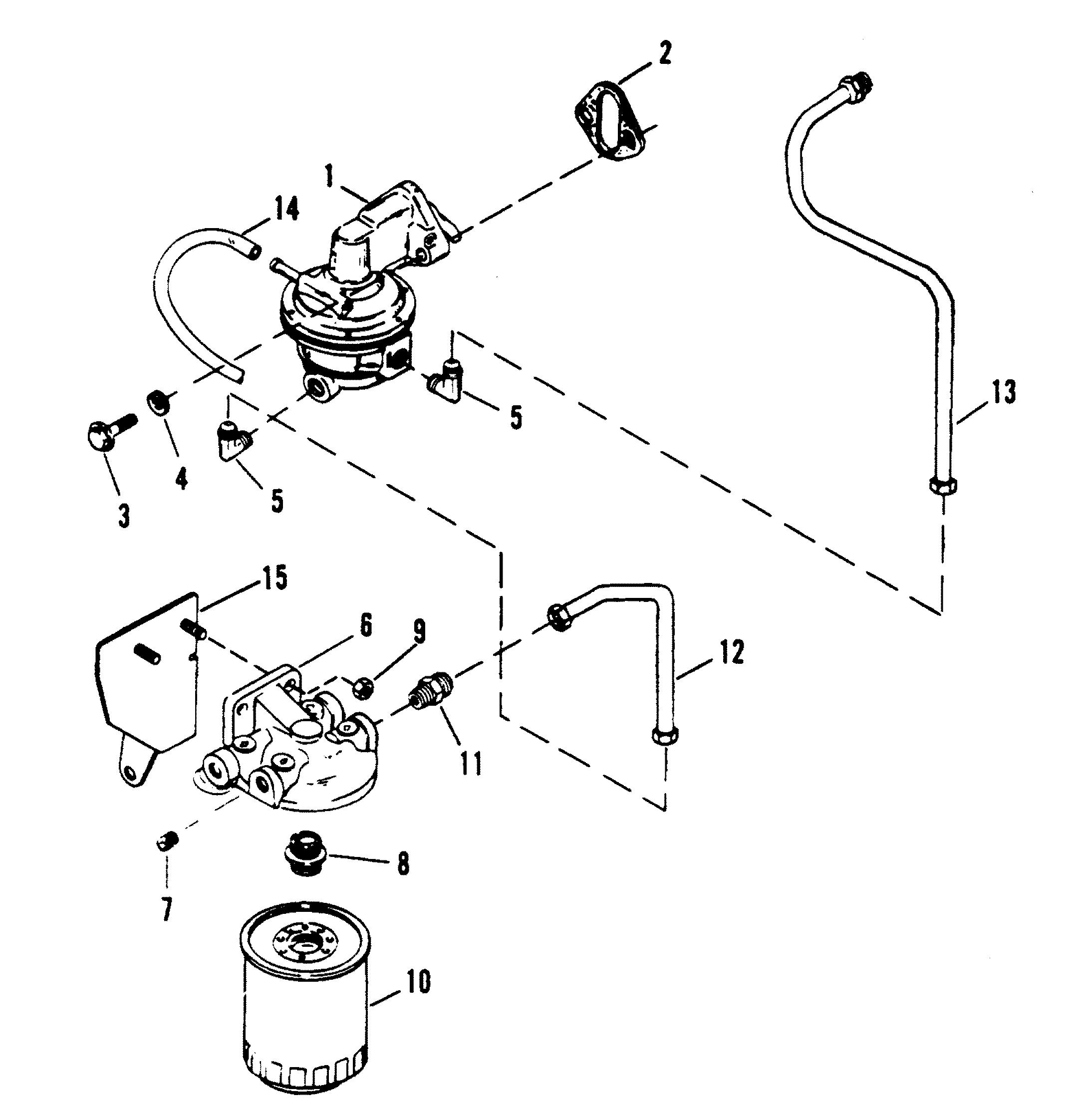 fuel pump and fuel filter for mercruiser 454 mag bravo gen v