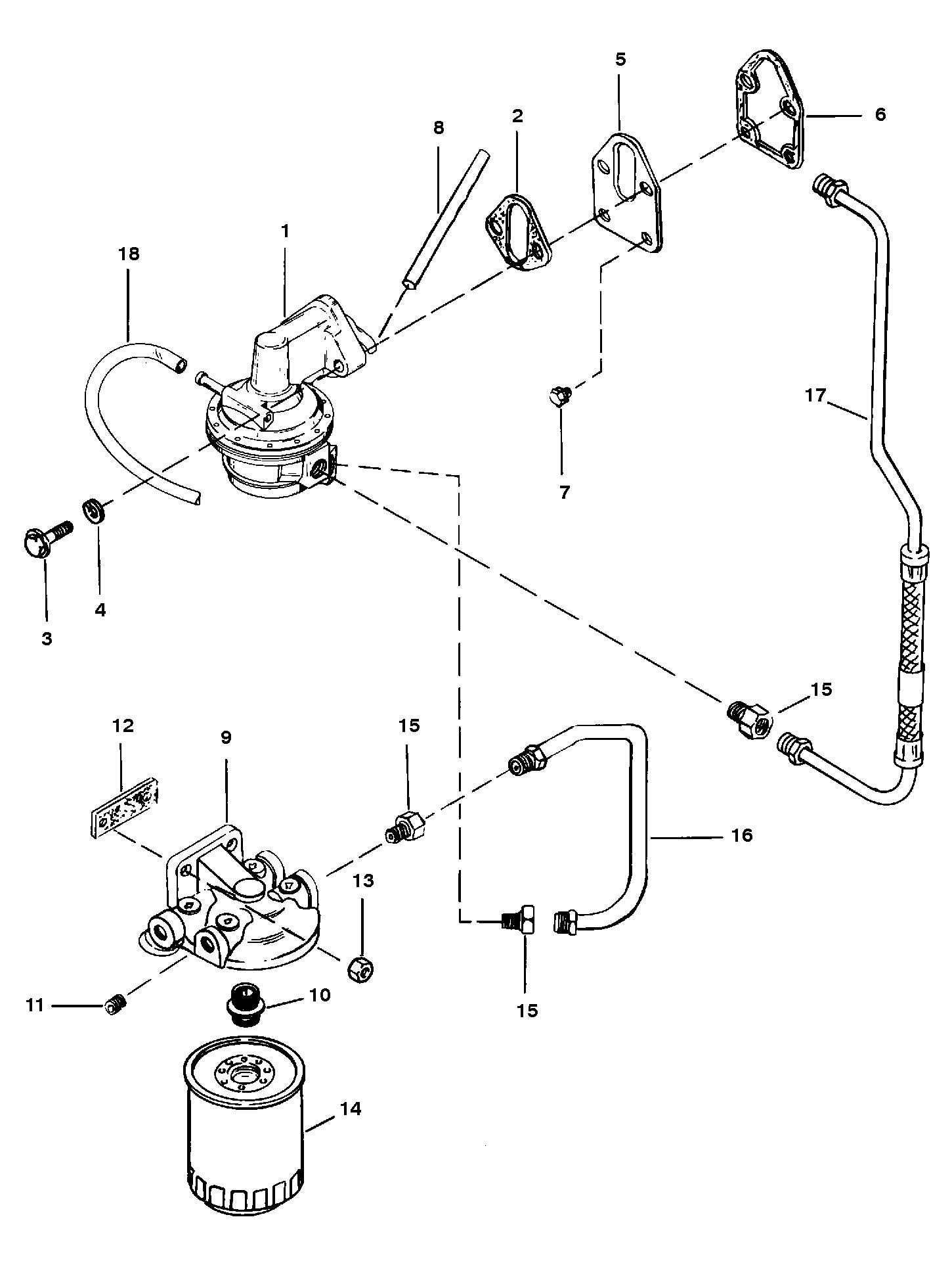 fuel pump and fuel filter for mercruiser 350 magnum bravo