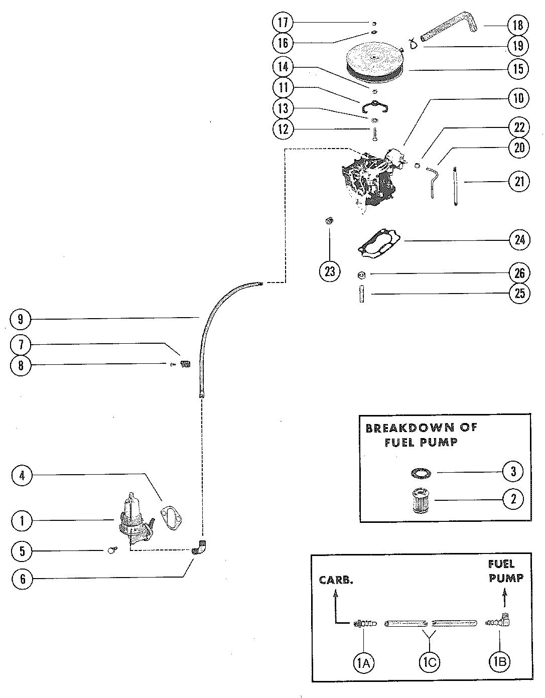 fuel pump  fuel filter and carburetor for mercruiser 140
