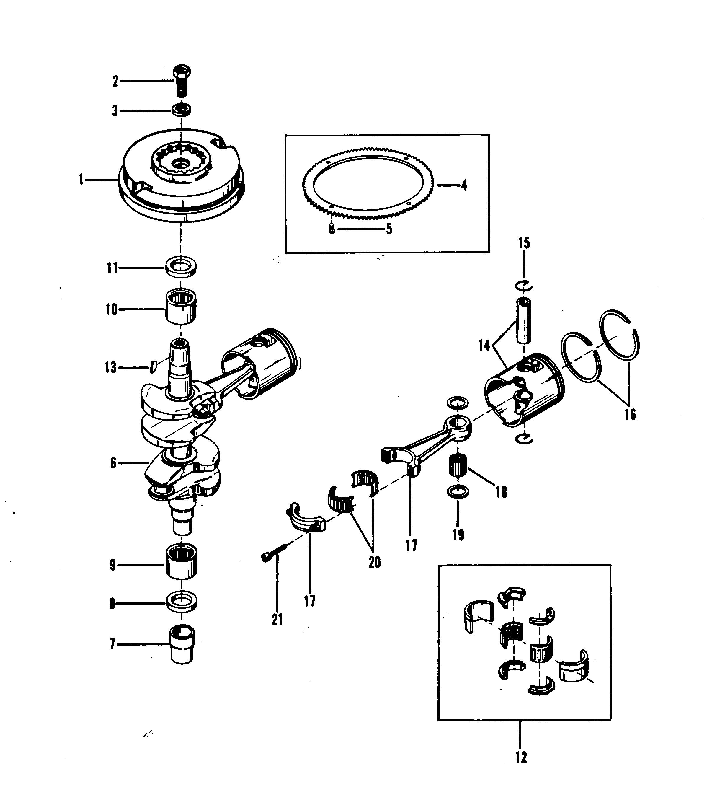 mercury 25xd wiring diagram crankshaft, pistons and flywheel for mariner / mercury 18 ...