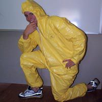 tyvek yellow polyethylene safety suit, yellow paint suit