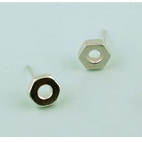 sterling silver hex nut earrings