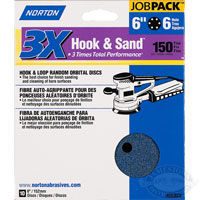 Norton 3X 6 in x 6 Hole Hook &amp; Sand Discs