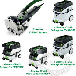 Festool Domino Joiner DF 500 Q + CT Vacuum Packages