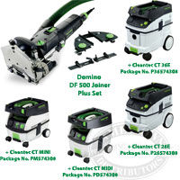 Festool Domino Joiner DF 500 Q Set + CT Vacuum Packages