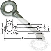 Shoulder Eye Bolts - Galvanized Steel