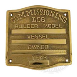 Boat Brass Commissioning Plate