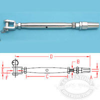 Suncor 316 SS Quick Attach Stud and Jaw Turnbuckle