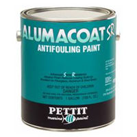 Pettit Alumacoat SR antifouling boat bottom paint for use on aluminum boats in fresh or salt water.
