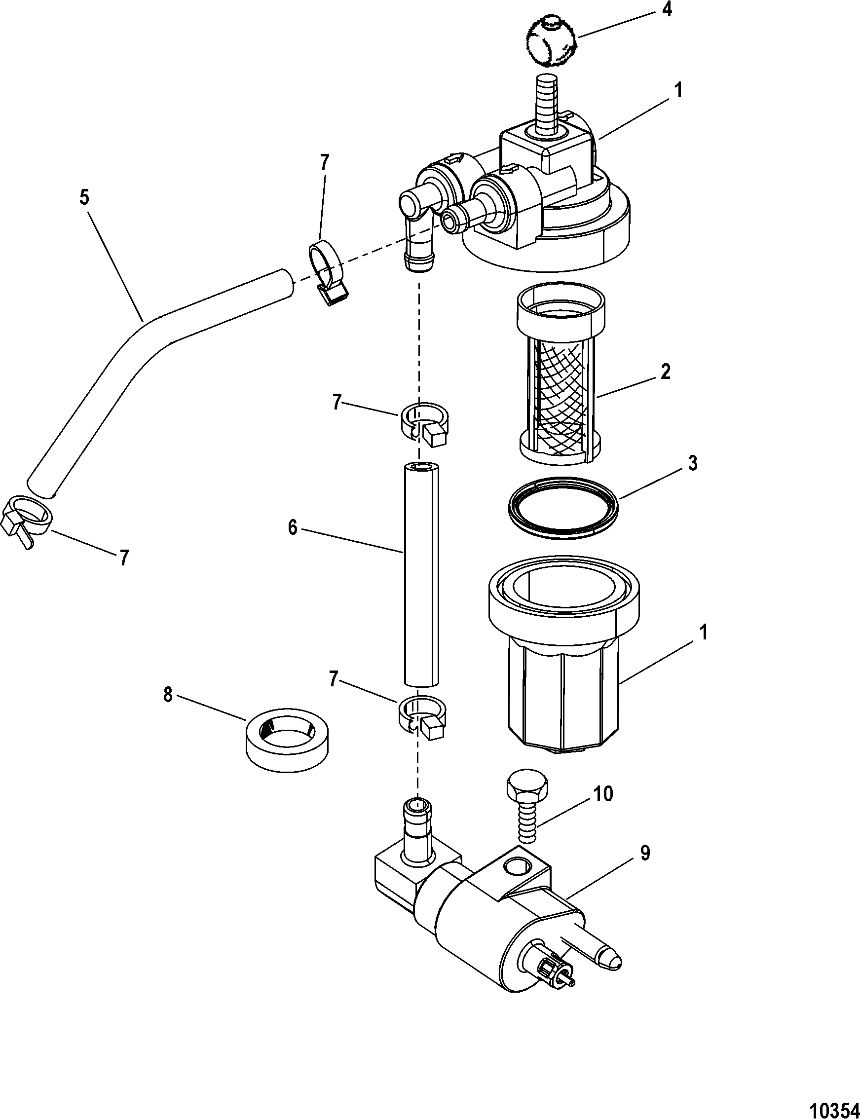 Fuel Filter Assembly(USA-1B153168/BEL-0P360021 and Up) FOR MARINER / MERCURY  8/9.9/13.5/15 (2-STROKE)