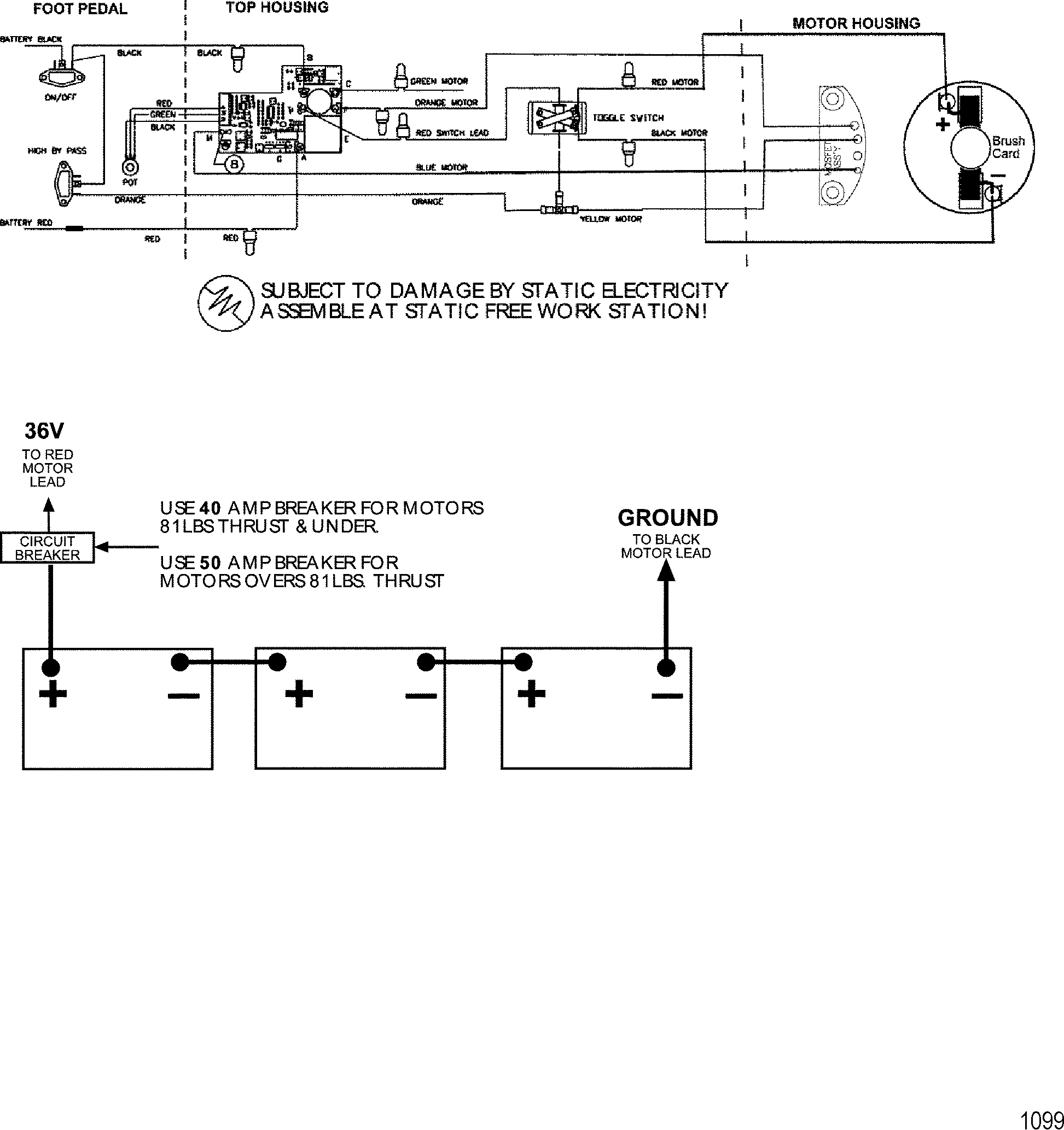 36v Wiring Diagram Trolling Motor : Wire diagram model v volt for motorguide