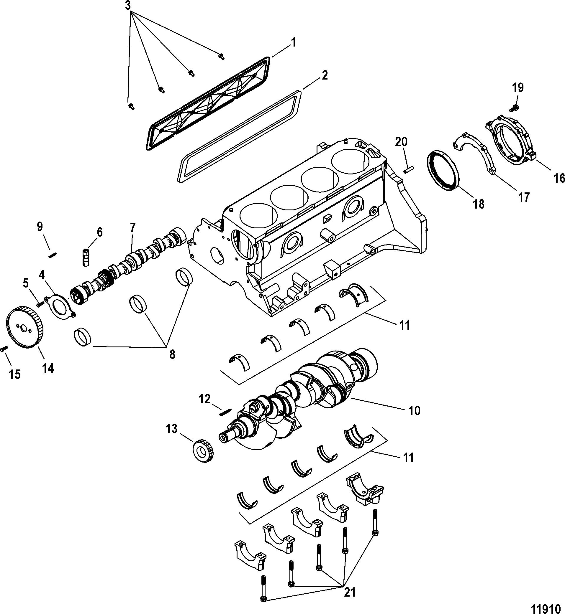 cylinder block  crankshaft and camshaft for mercruiser 3