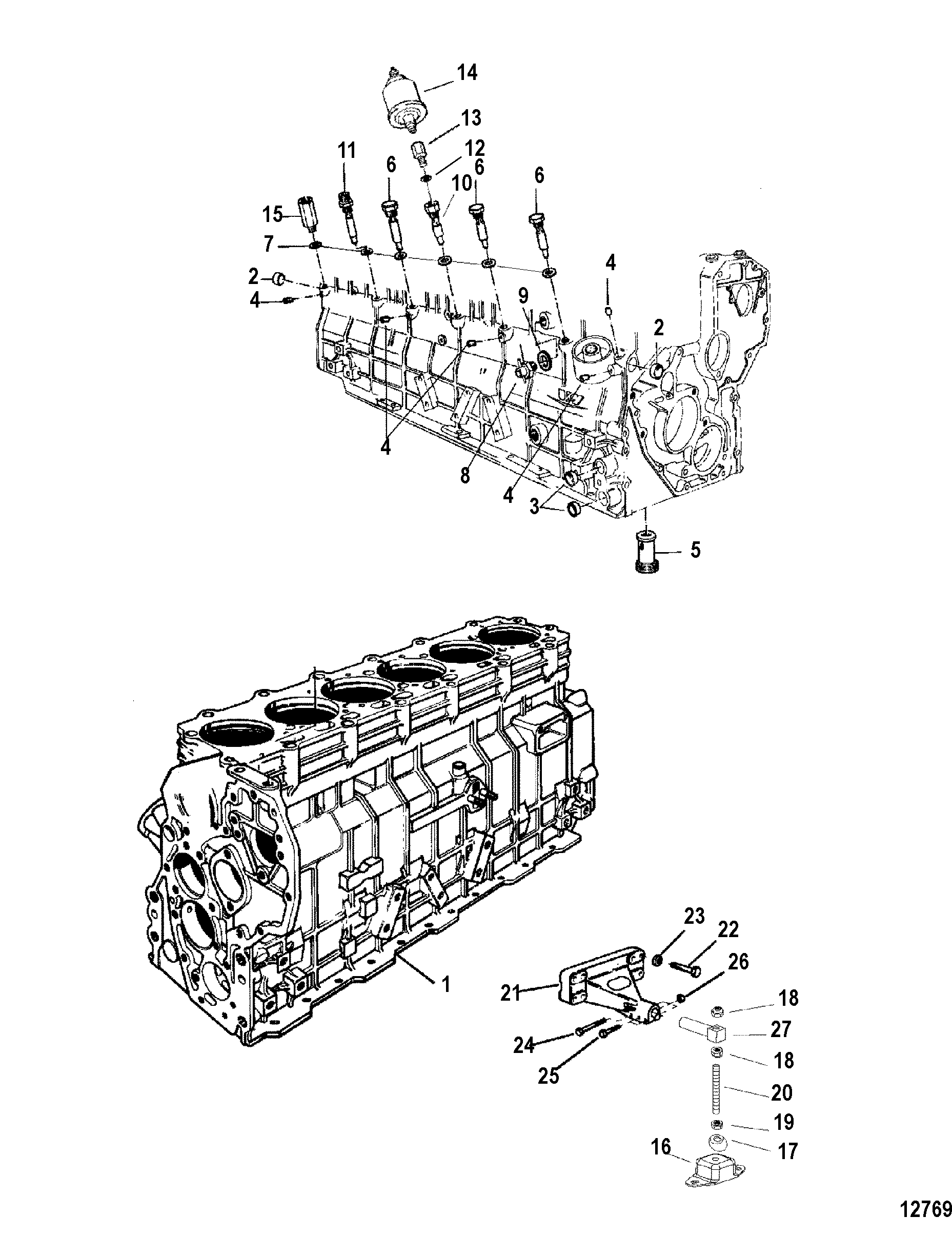 engine and cylinder block for mercruiser    mie cummins