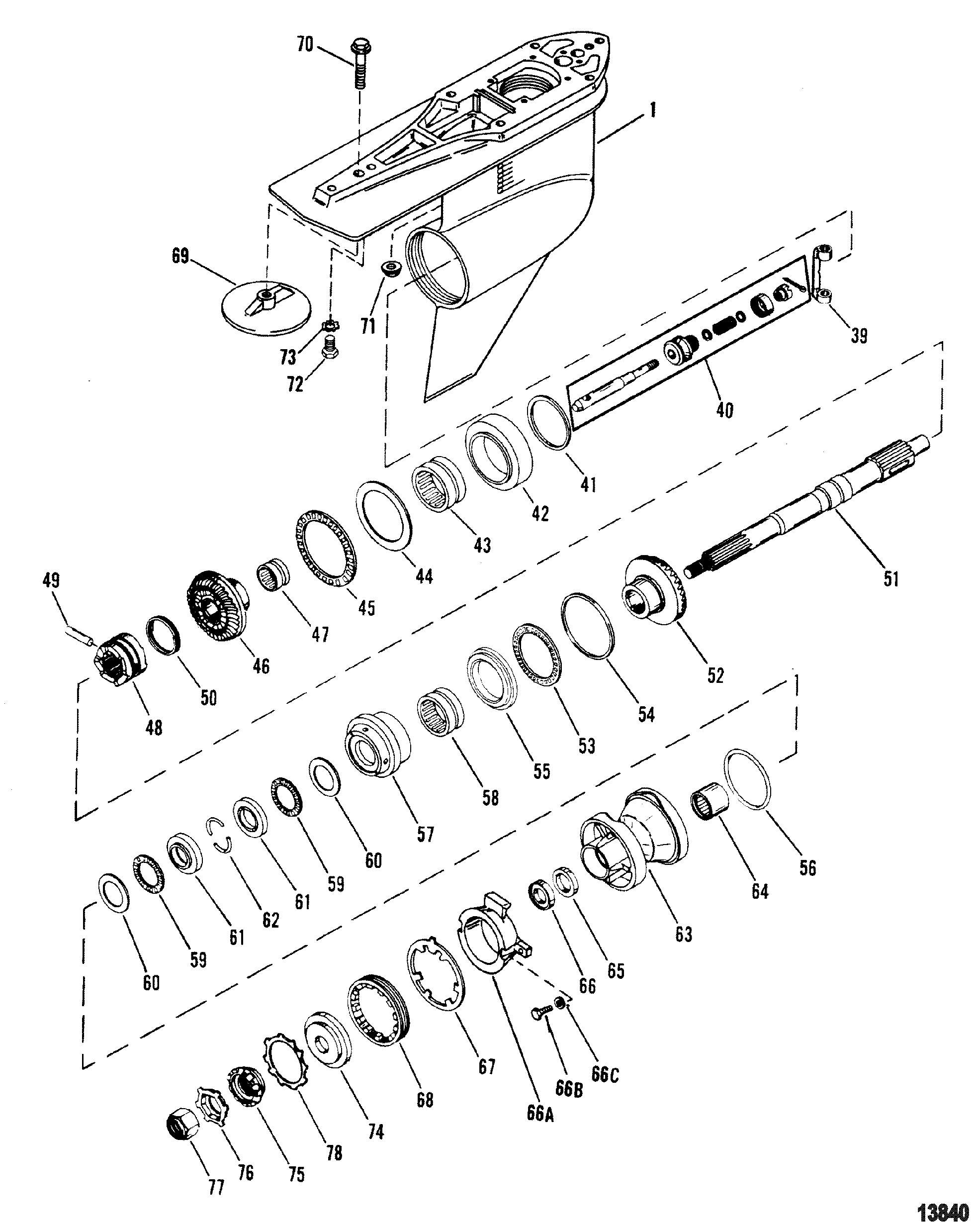 mercury propeller shaft diagram