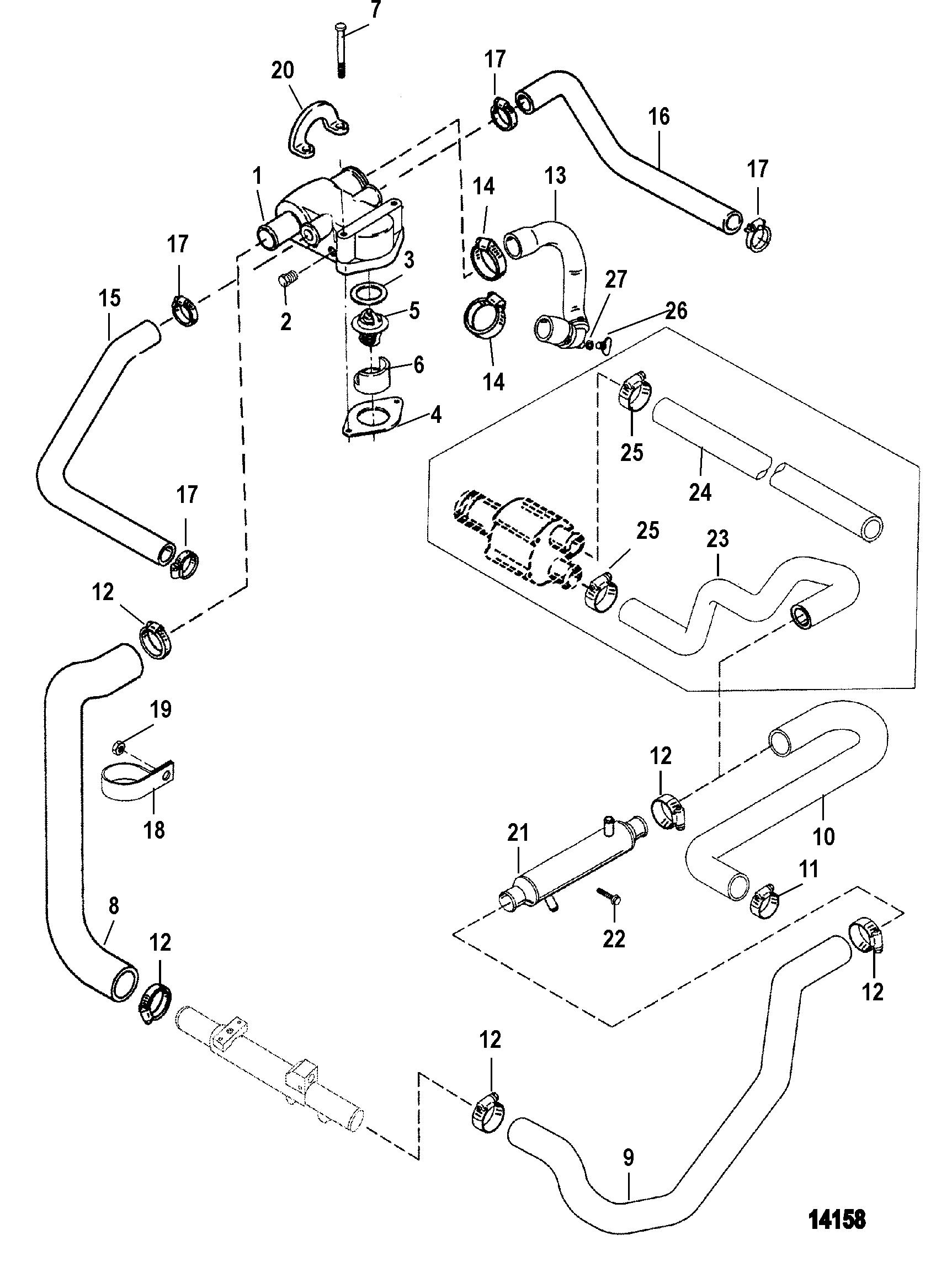 Standard Cooling System For Mercruiser 5 0l Efi Alpha  Bravo 5 7l Efi Alpha  Bravo Gen   Engine