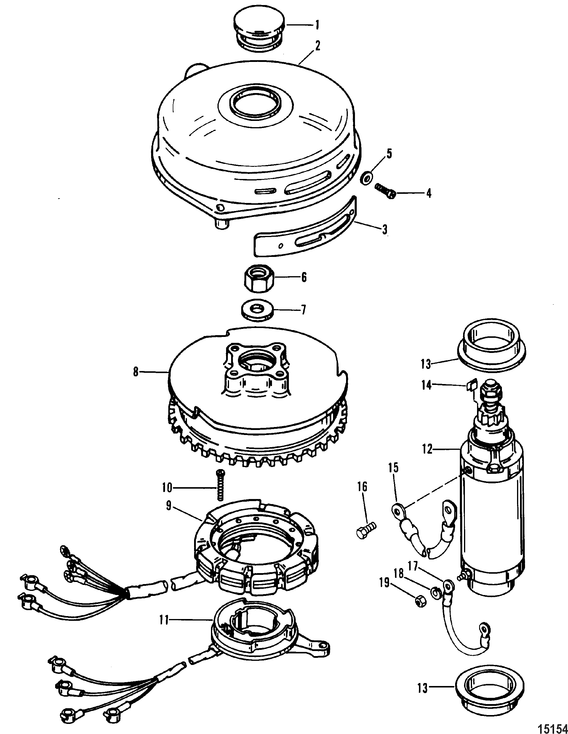 3 Cylinder 90 Hp Mercury Wiring Diagram Real Tach Flywheel And Starter Motor For Mariner 70 75 80 Ignition Switch 2 Stroke