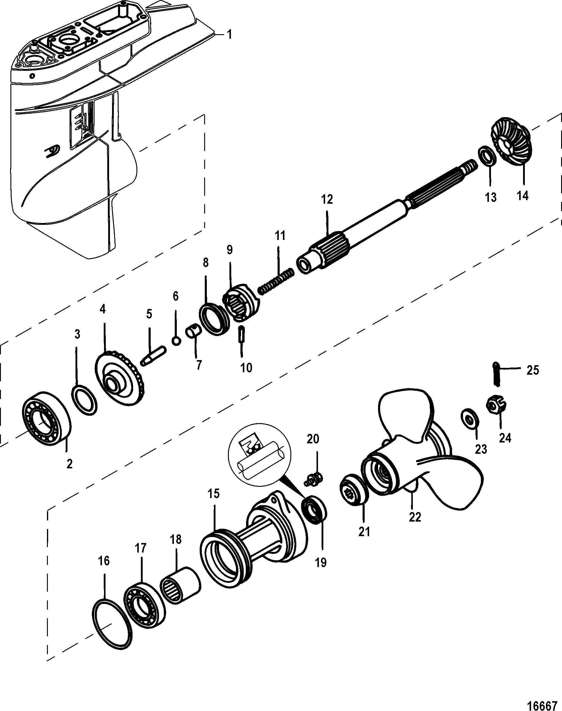 gear housing propeller shaft 1 92 1 gear ratio for mariner mercury 25 30 jet 25 efi 3